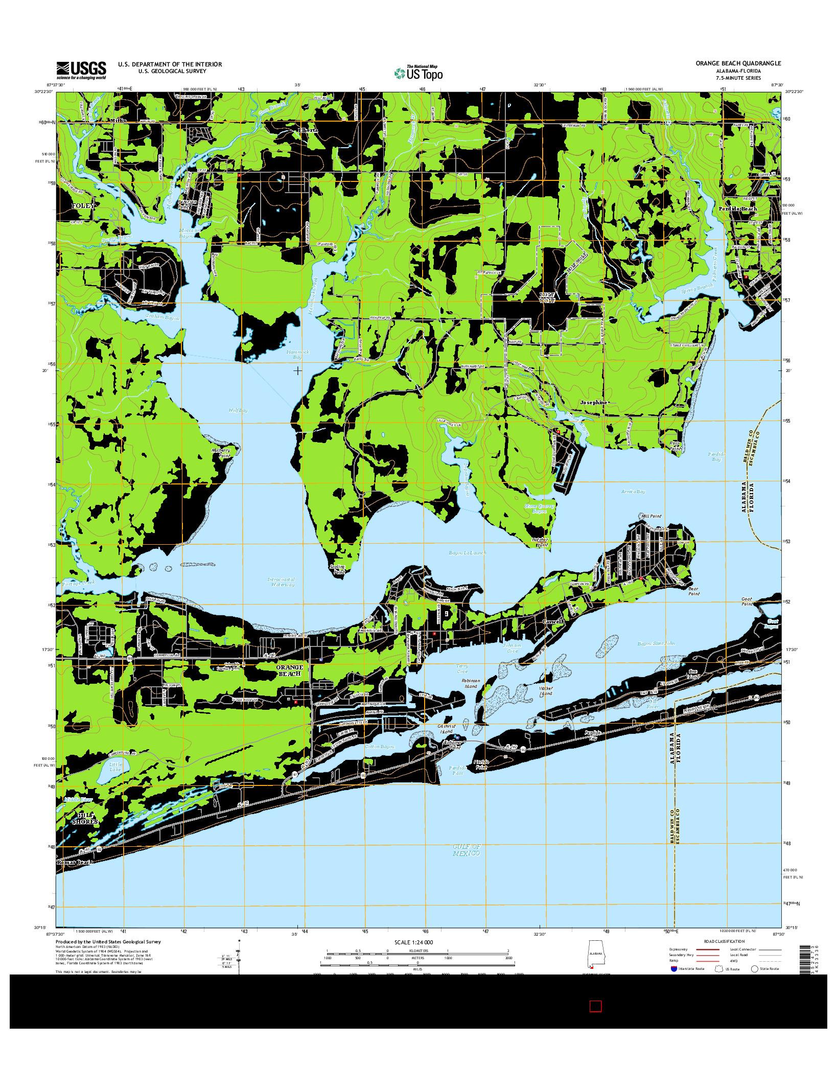 USGS US TOPO 7.5-MINUTE MAP FOR ORANGE BEACH, AL-FL 2014
