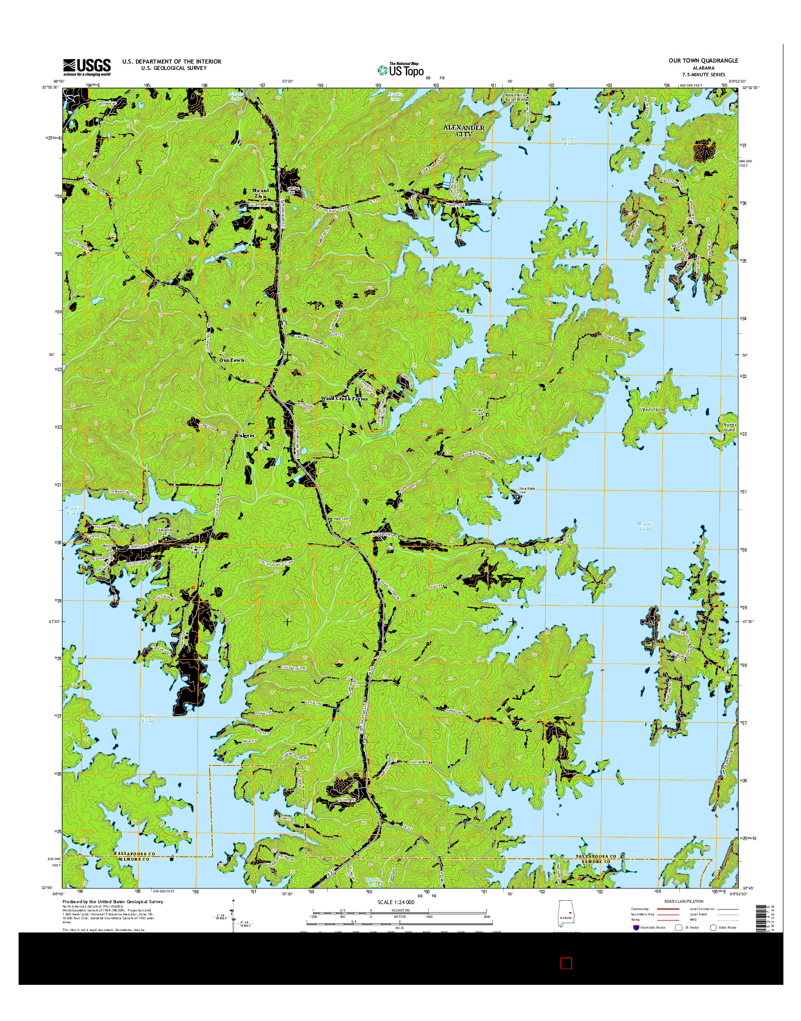 USGS US TOPO 7.5-MINUTE MAP FOR OUR TOWN, AL 2014