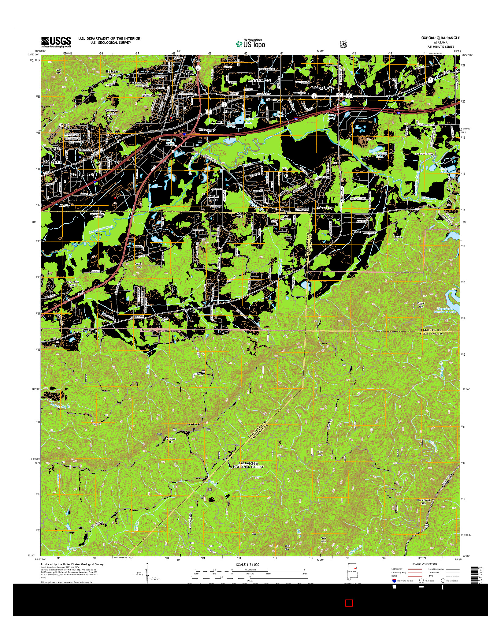 USGS US TOPO 7.5-MINUTE MAP FOR OXFORD, AL 2014
