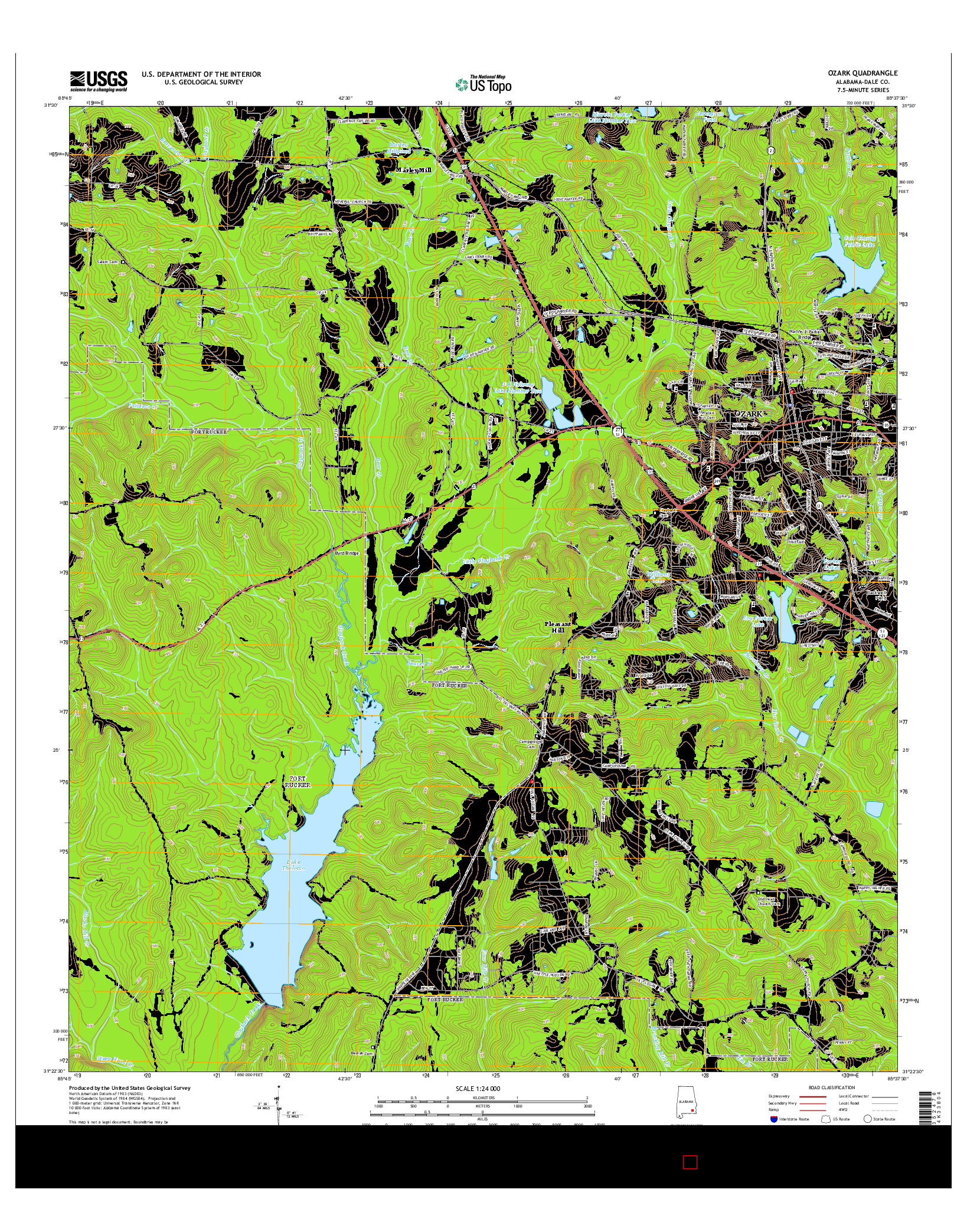 USGS US TOPO 7.5-MINUTE MAP FOR OZARK, AL 2014