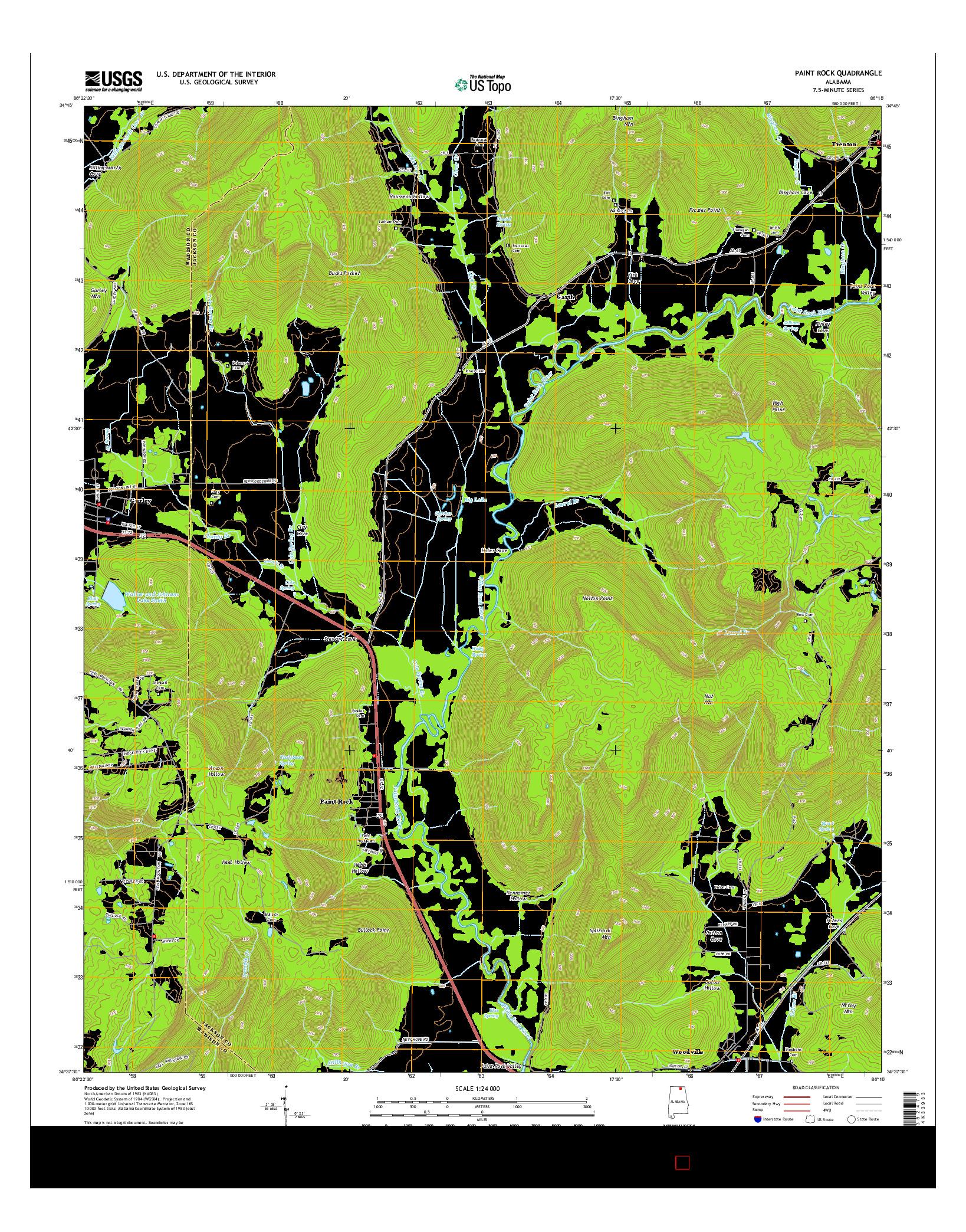 USGS US TOPO 7.5-MINUTE MAP FOR PAINT ROCK, AL 2014