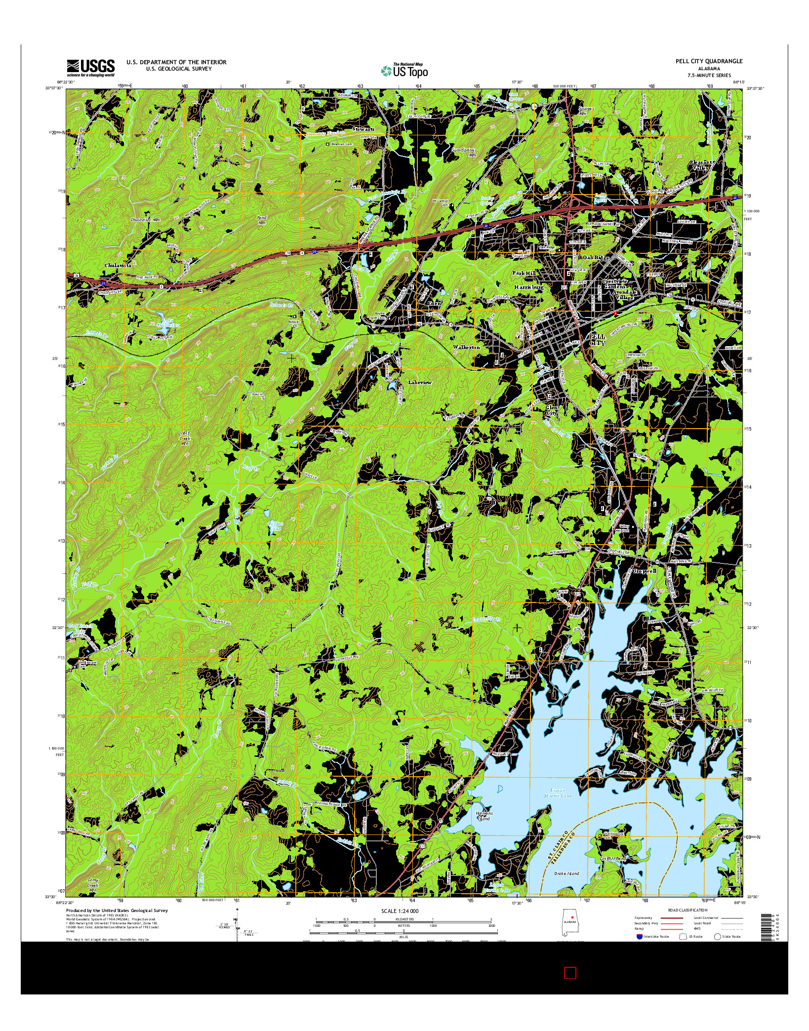 USGS US TOPO 7.5-MINUTE MAP FOR PELL CITY, AL 2014