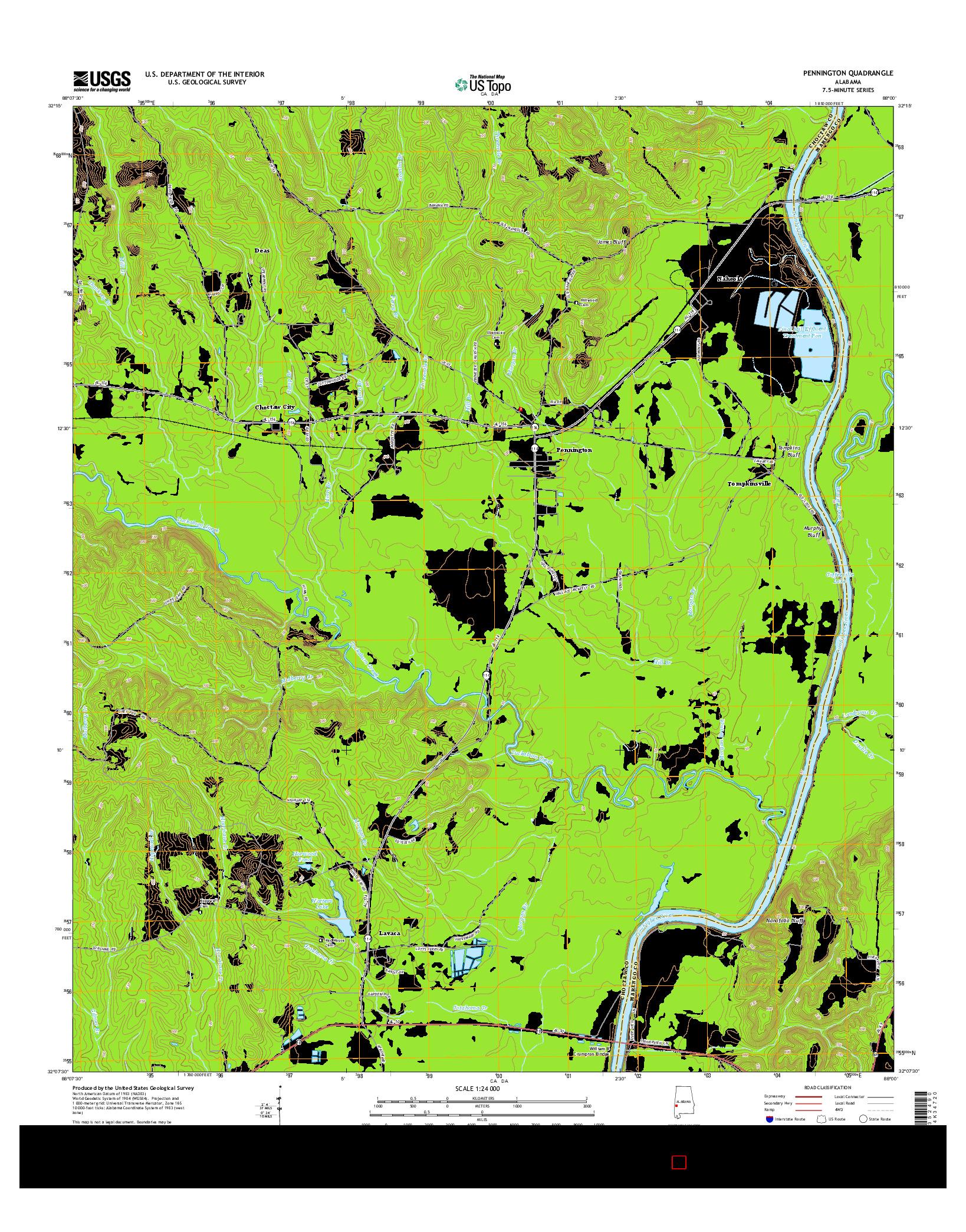 USGS US TOPO 7.5-MINUTE MAP FOR PENNINGTON, AL 2014