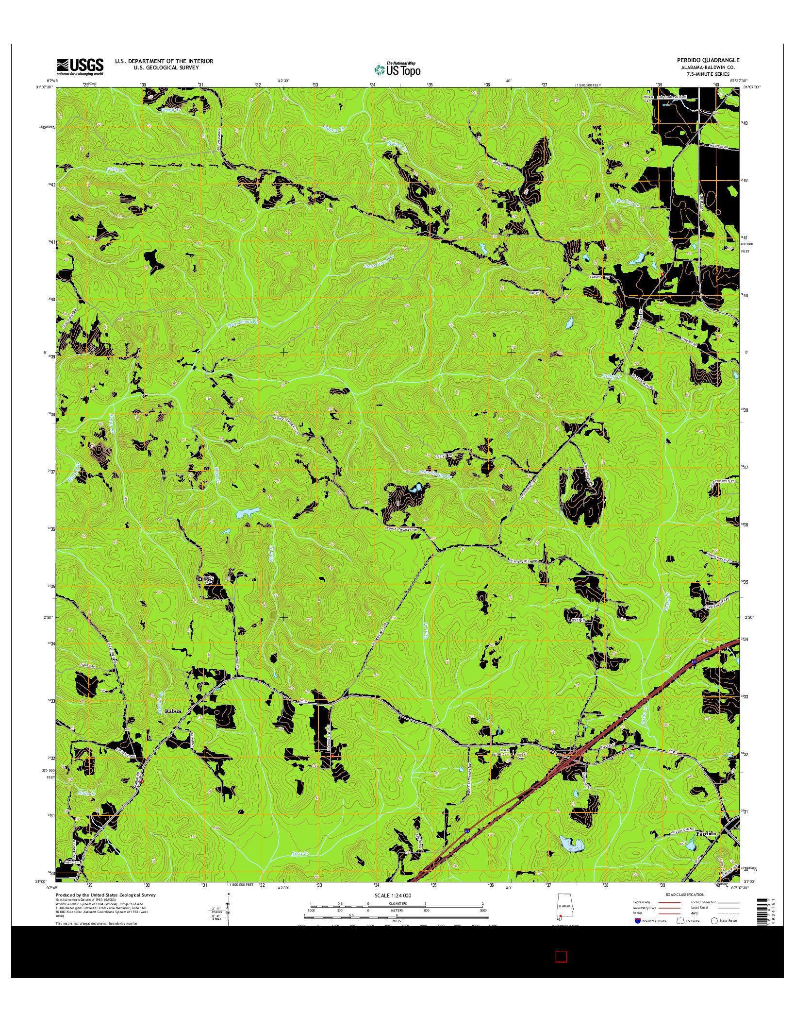 USGS US TOPO 7.5-MINUTE MAP FOR PERDIDO, AL 2014
