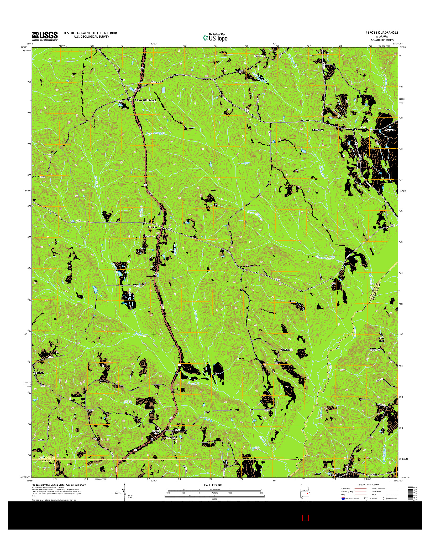 USGS US TOPO 7.5-MINUTE MAP FOR PEROTE, AL 2014