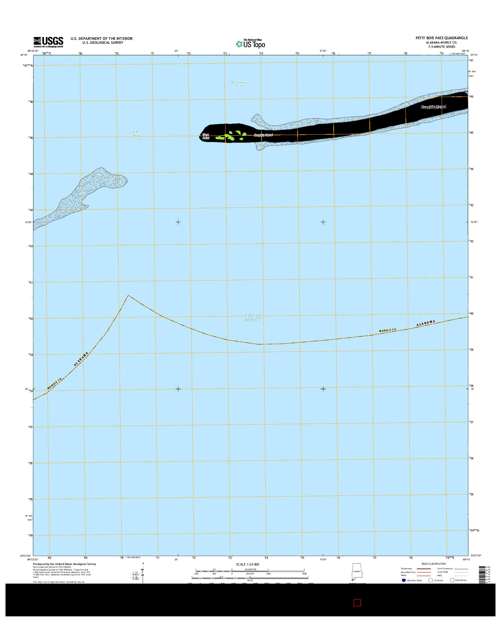USGS US TOPO 7.5-MINUTE MAP FOR PETIT BOIS PASS, AL 2014