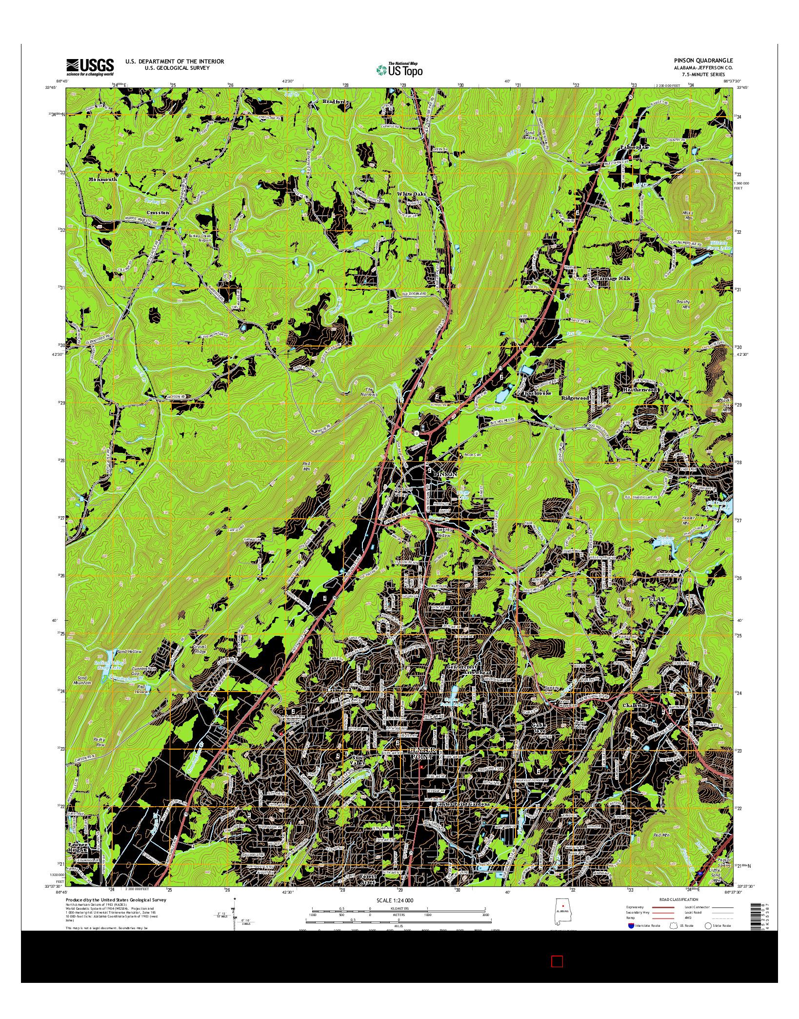 USGS US TOPO 7.5-MINUTE MAP FOR PINSON, AL 2014