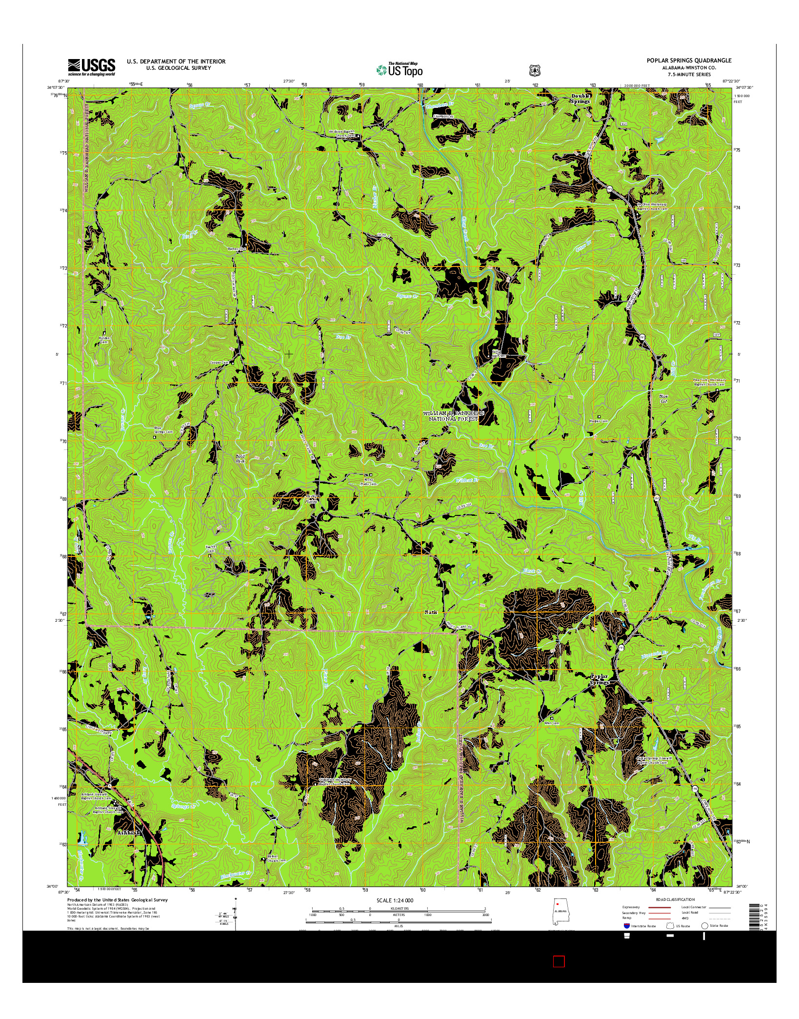 USGS US TOPO 7.5-MINUTE MAP FOR POPLAR SPRINGS, AL 2014