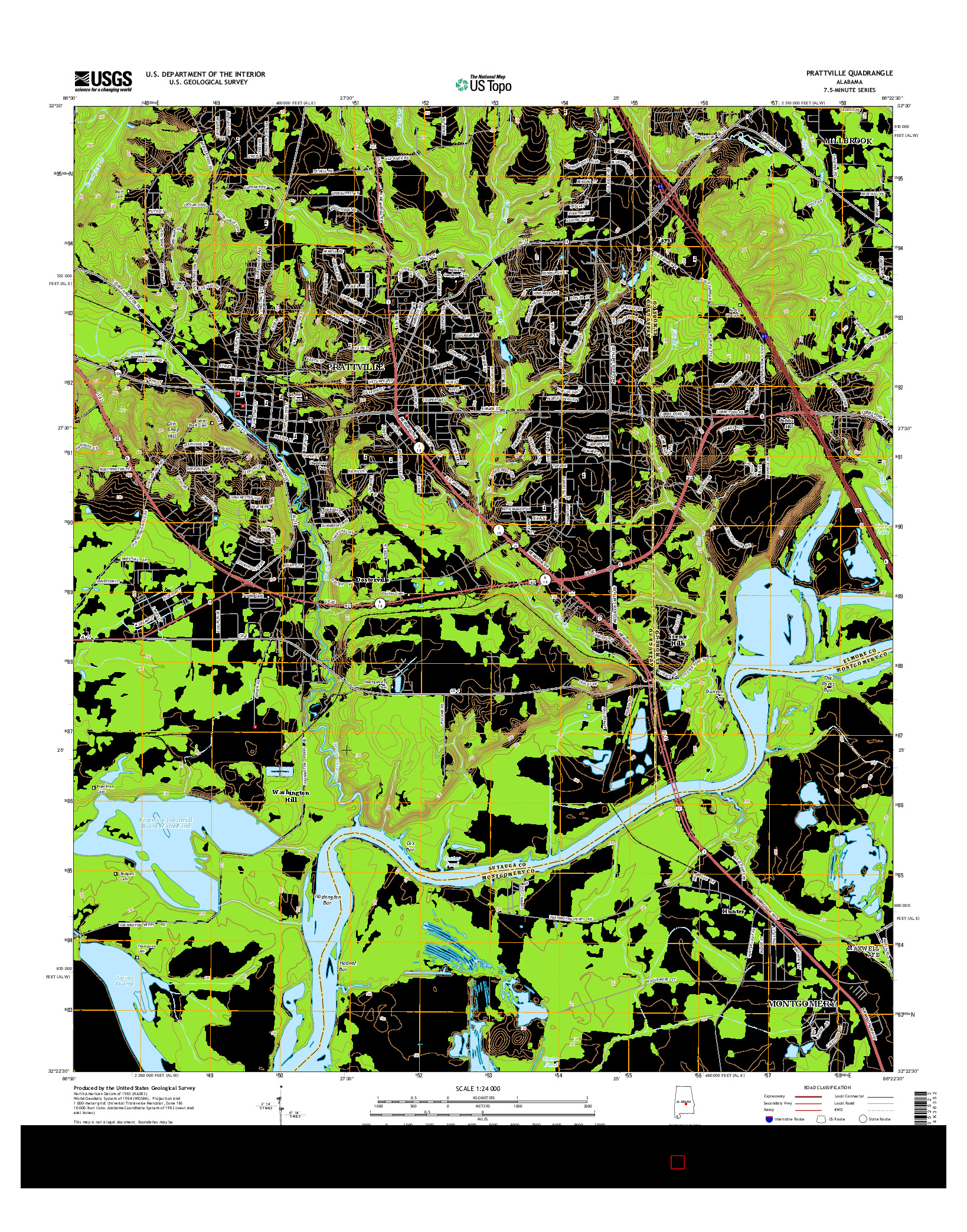 USGS US TOPO 7.5-MINUTE MAP FOR PRATTVILLE, AL 2014