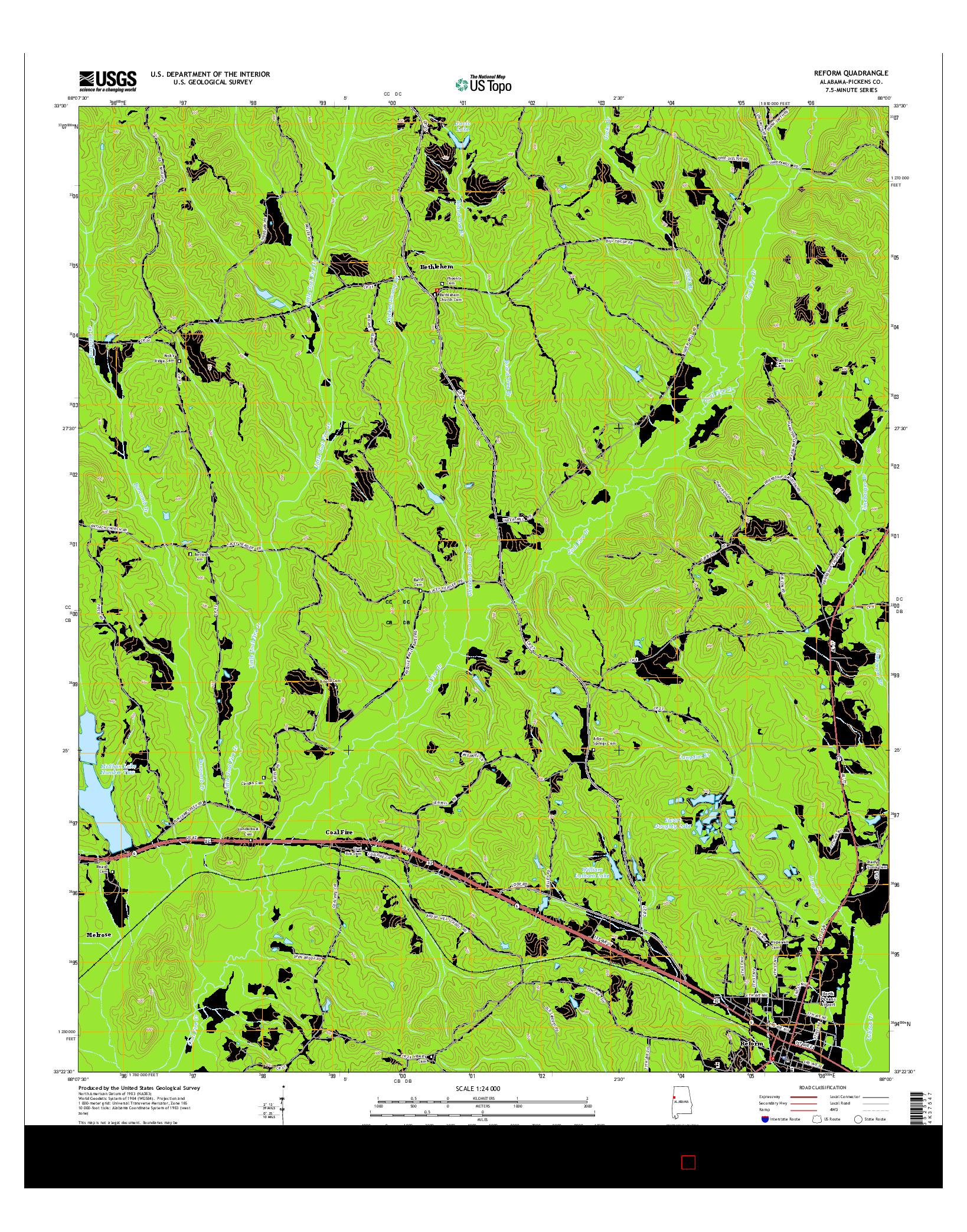 USGS US TOPO 7.5-MINUTE MAP FOR REFORM, AL 2014