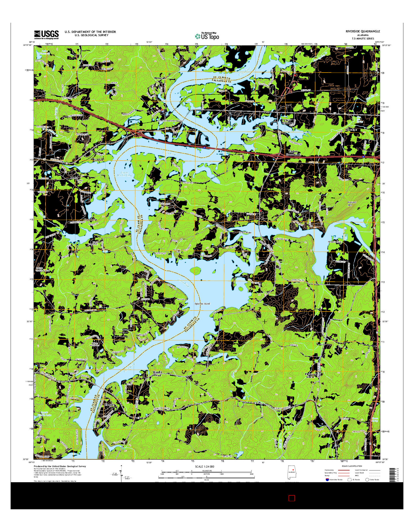 USGS US TOPO 7.5-MINUTE MAP FOR RIVERSIDE, AL 2014