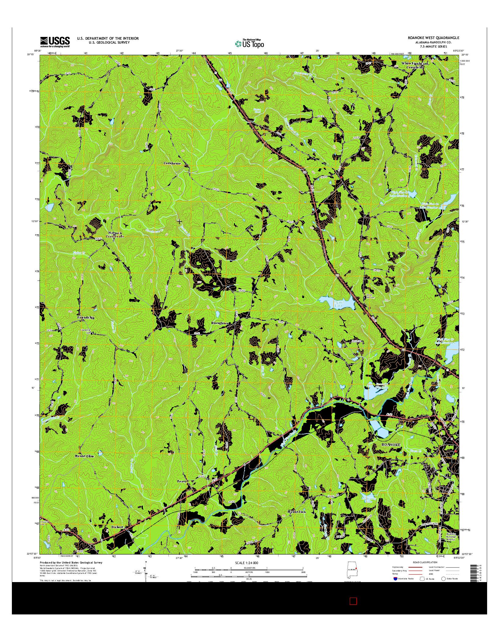 USGS US TOPO 7.5-MINUTE MAP FOR ROANOKE WEST, AL 2014