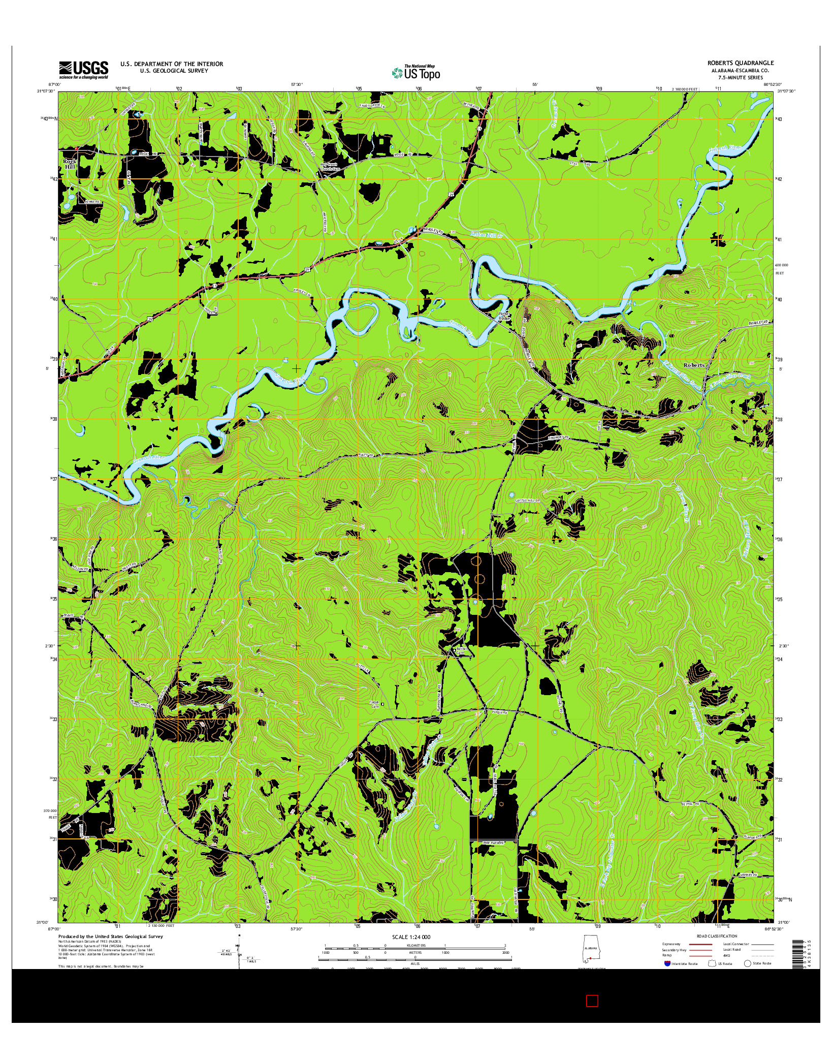 USGS US TOPO 7.5-MINUTE MAP FOR ROBERTS, AL 2014