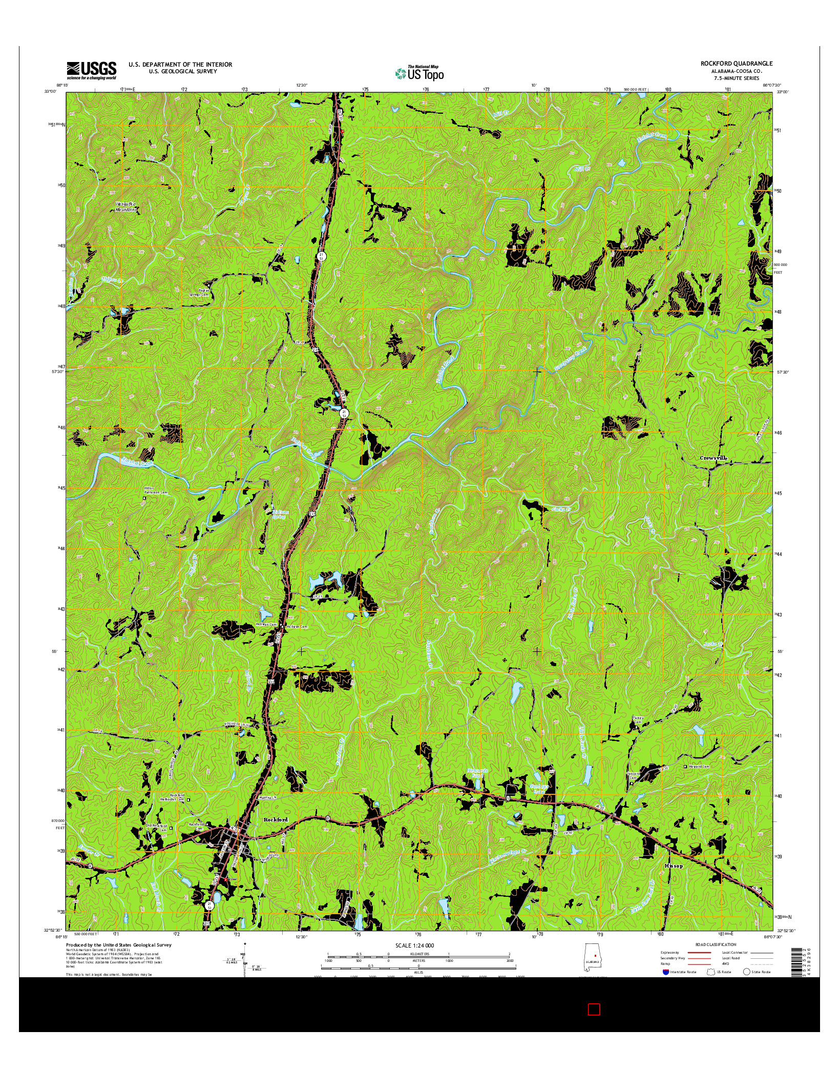 USGS US TOPO 7.5-MINUTE MAP FOR ROCKFORD, AL 2014