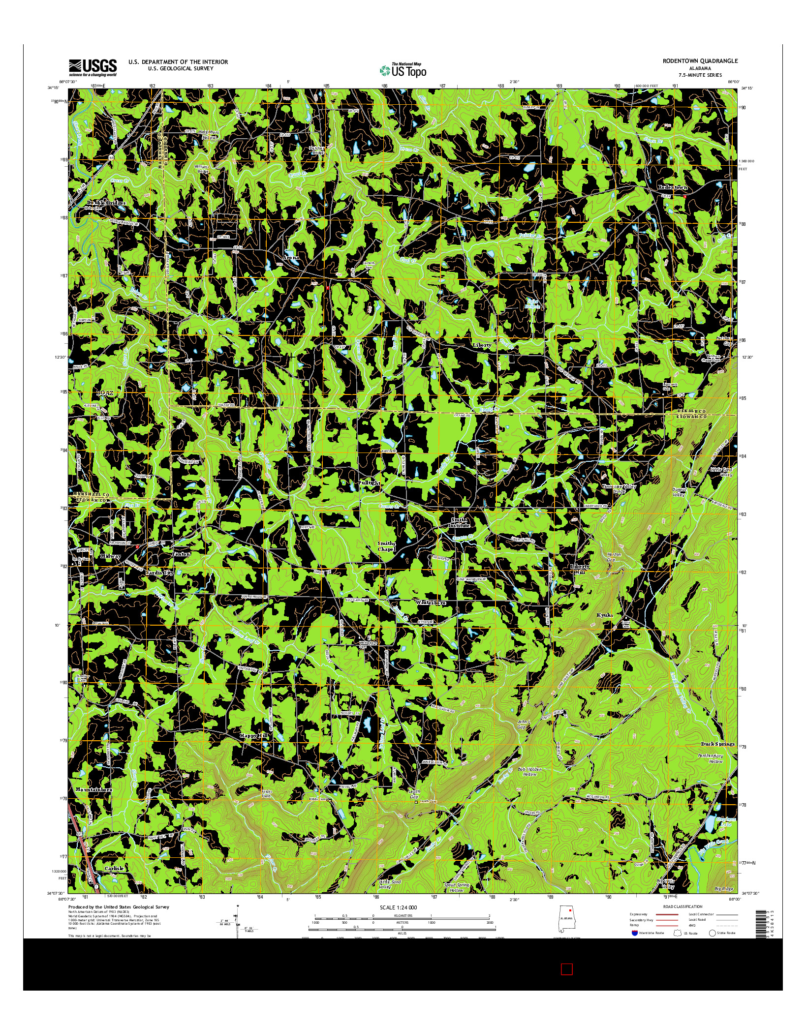 USGS US TOPO 7.5-MINUTE MAP FOR RODENTOWN, AL 2014