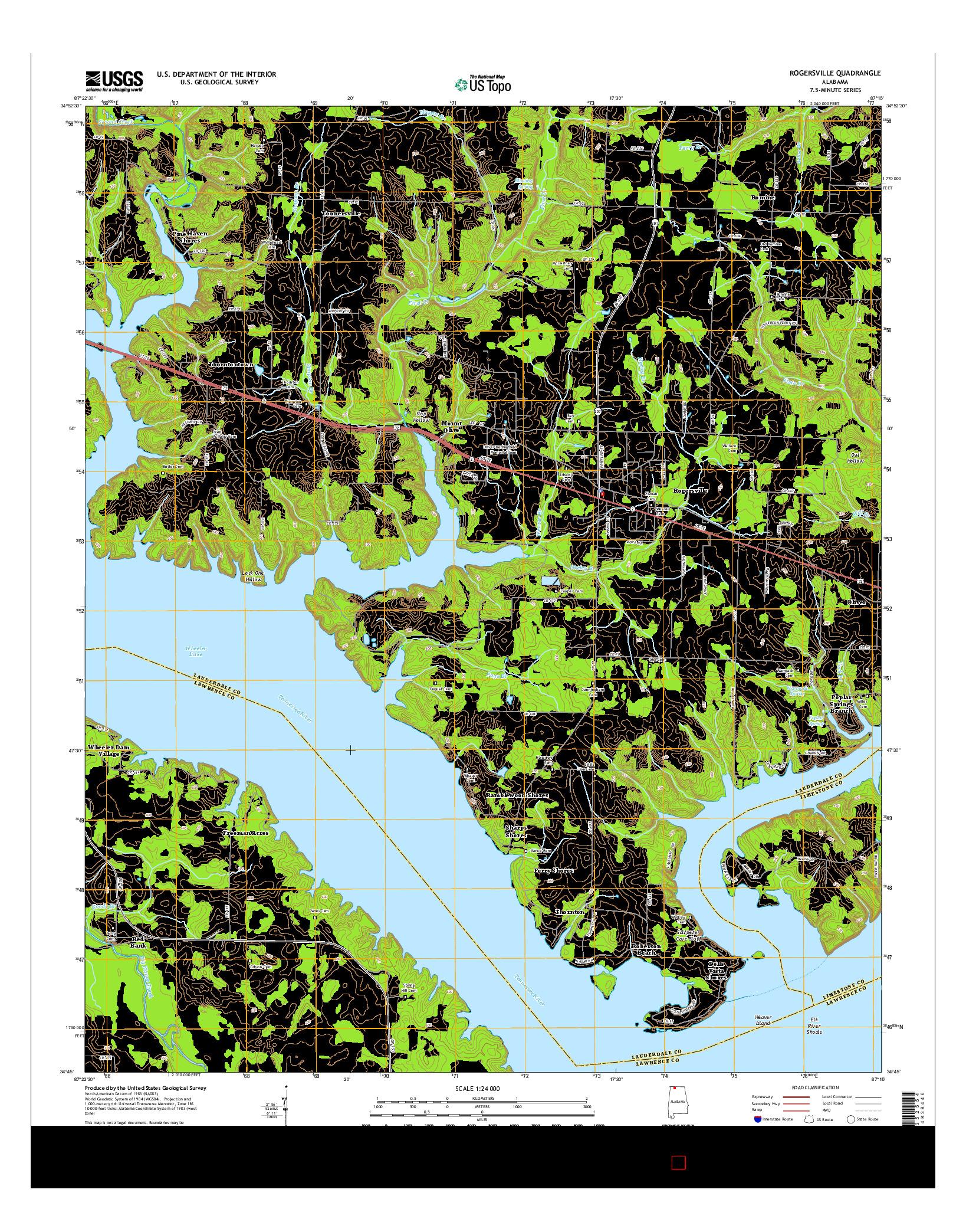 USGS US TOPO 7.5-MINUTE MAP FOR ROGERSVILLE, AL 2014