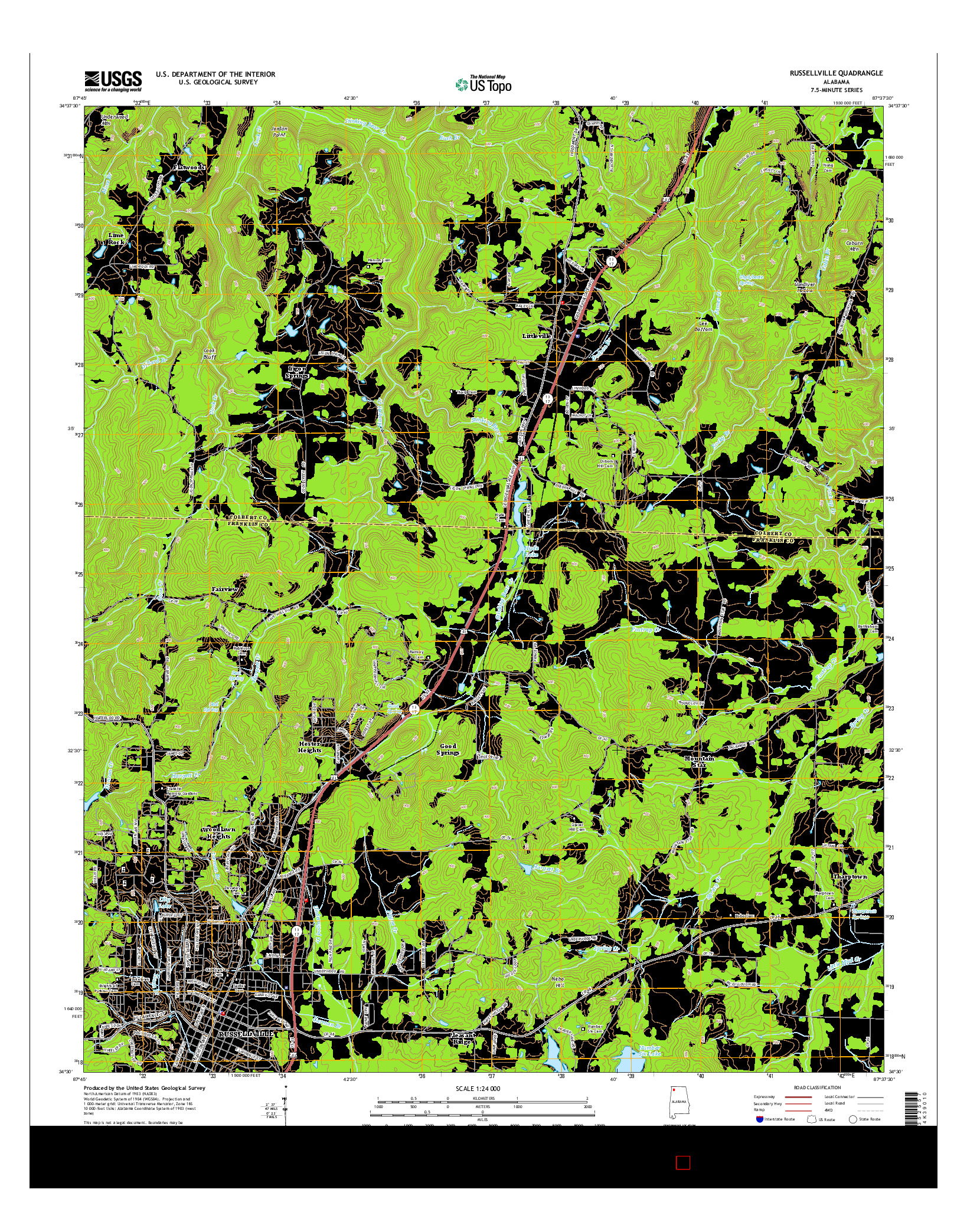 USGS US TOPO 7.5-MINUTE MAP FOR RUSSELLVILLE, AL 2014