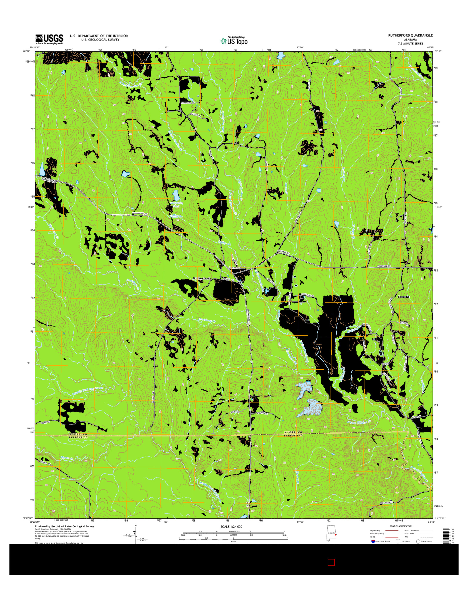 USGS US TOPO 7.5-MINUTE MAP FOR RUTHERFORD, AL 2014