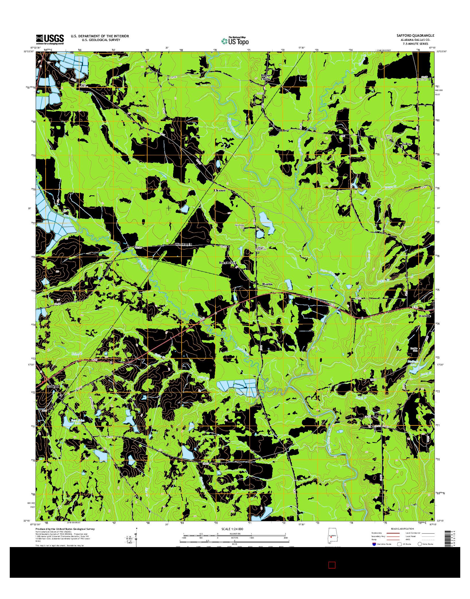 USGS US TOPO 7.5-MINUTE MAP FOR SAFFORD, AL 2014