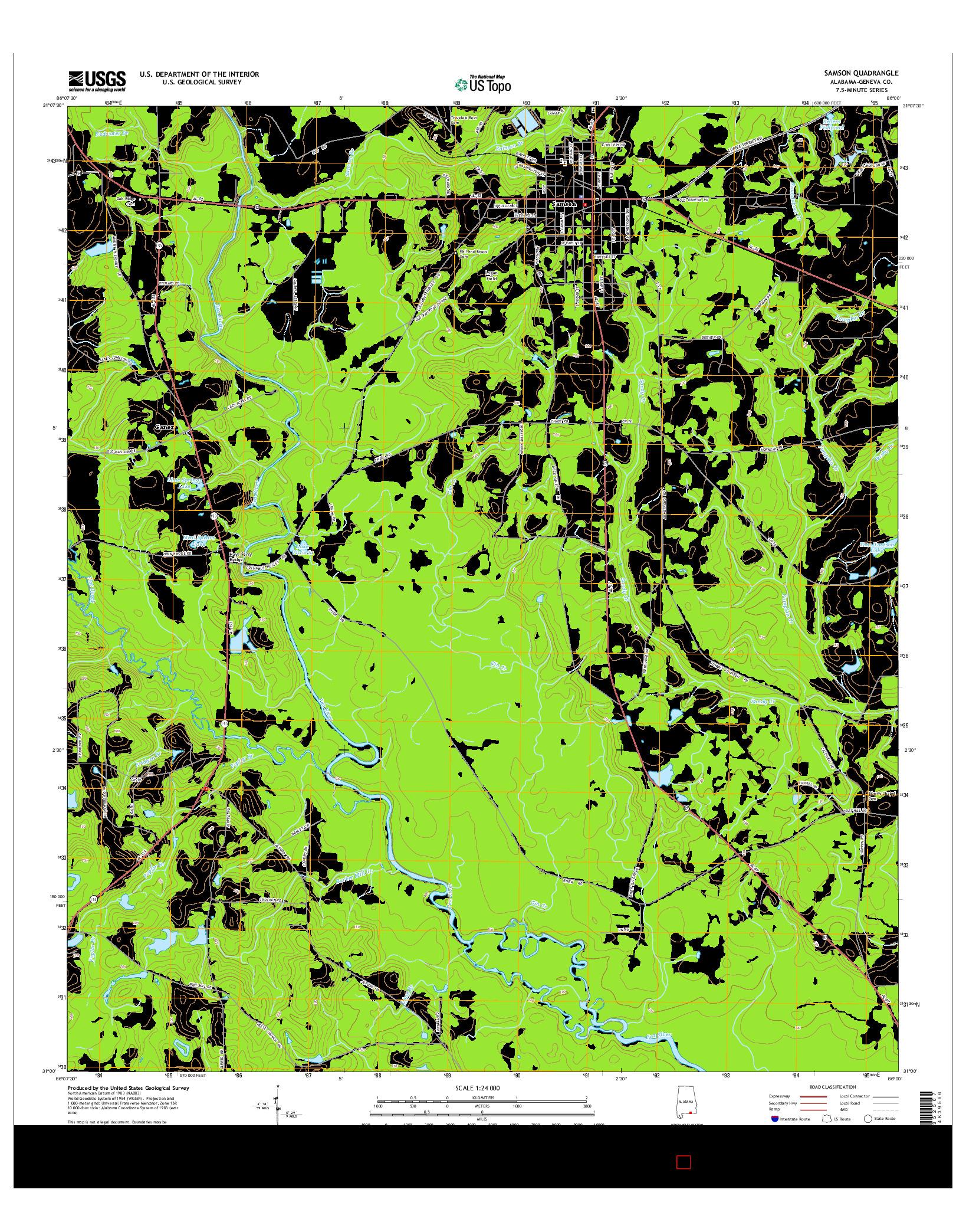USGS US TOPO 7.5-MINUTE MAP FOR SAMSON, AL 2014