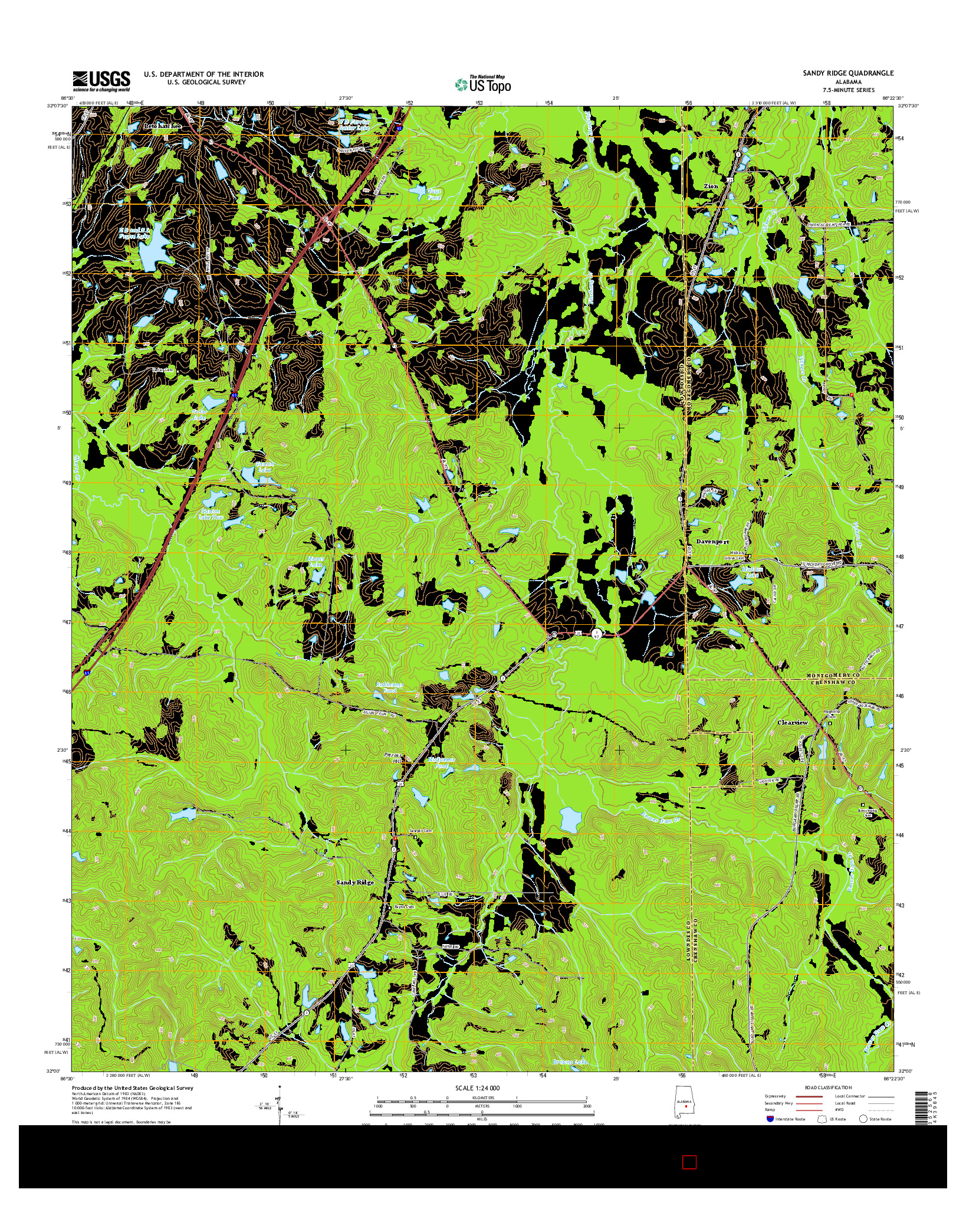 USGS US TOPO 7.5-MINUTE MAP FOR SANDY RIDGE, AL 2014