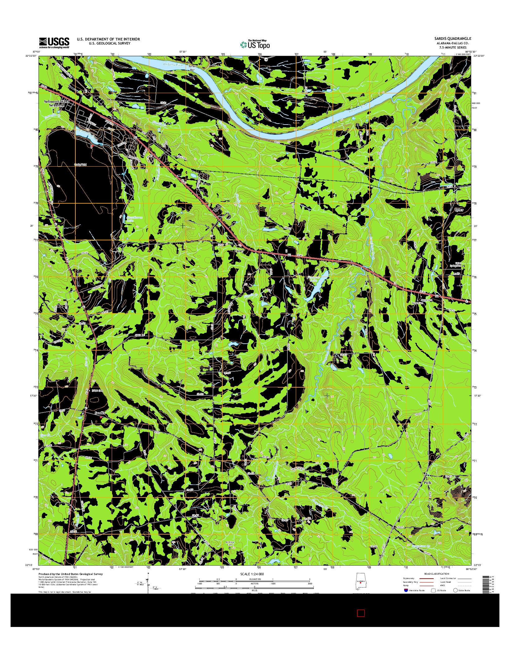 USGS US TOPO 7.5-MINUTE MAP FOR SARDIS, AL 2014