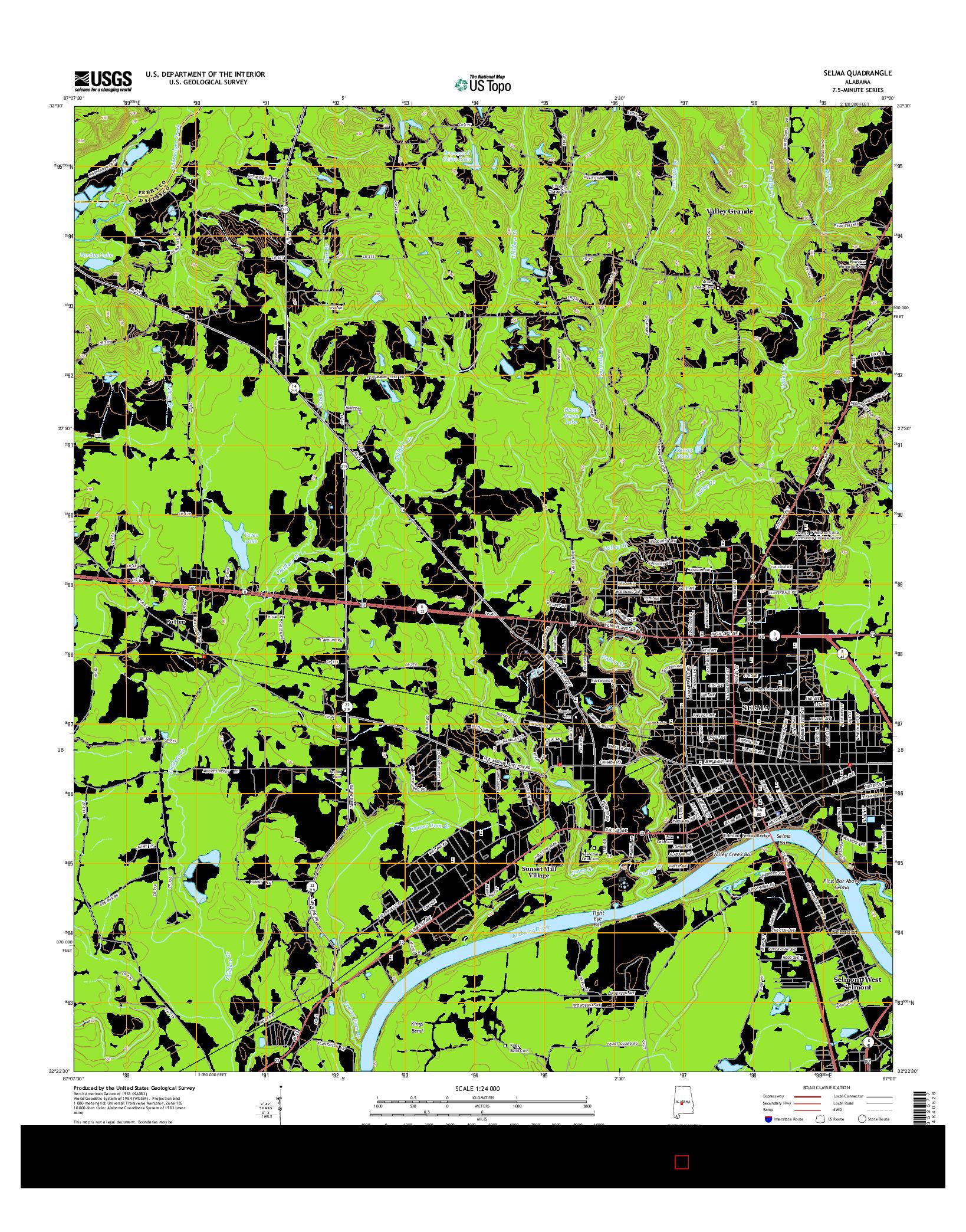 USGS US TOPO 7.5-MINUTE MAP FOR SELMA, AL 2014