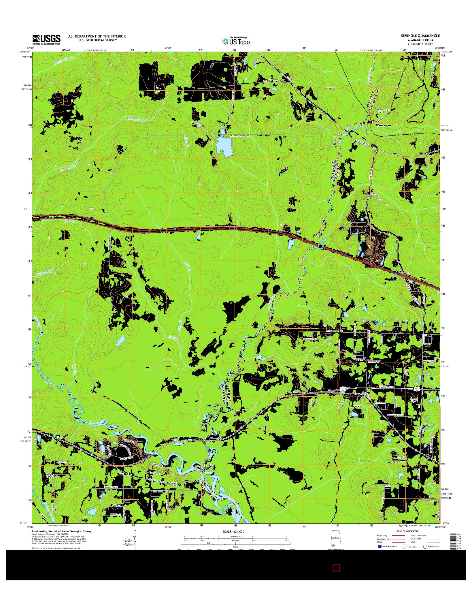 USGS US TOPO 7.5-MINUTE MAP FOR SEMINOLE, AL-FL 2014