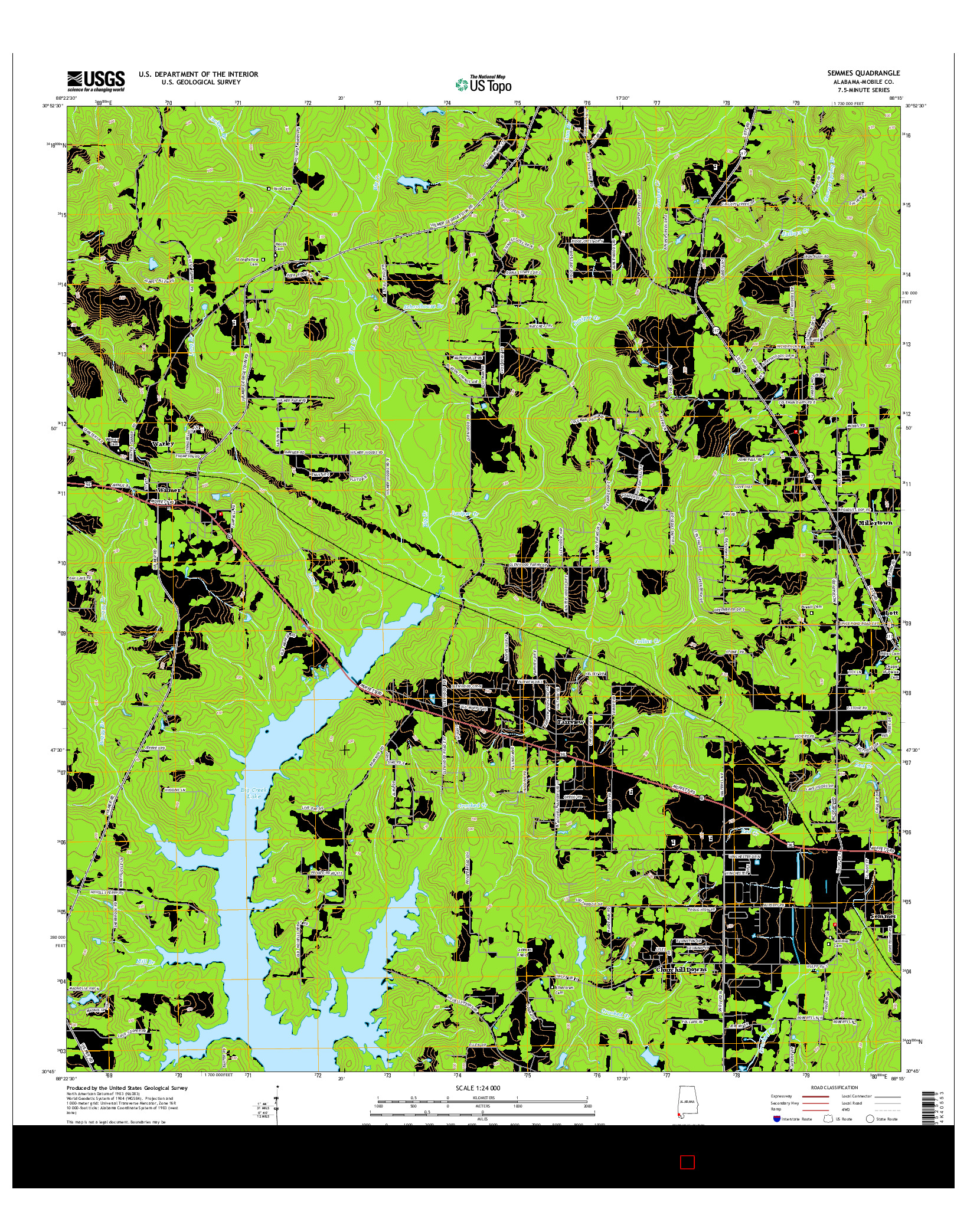 USGS US TOPO 7.5-MINUTE MAP FOR SEMMES, AL 2014