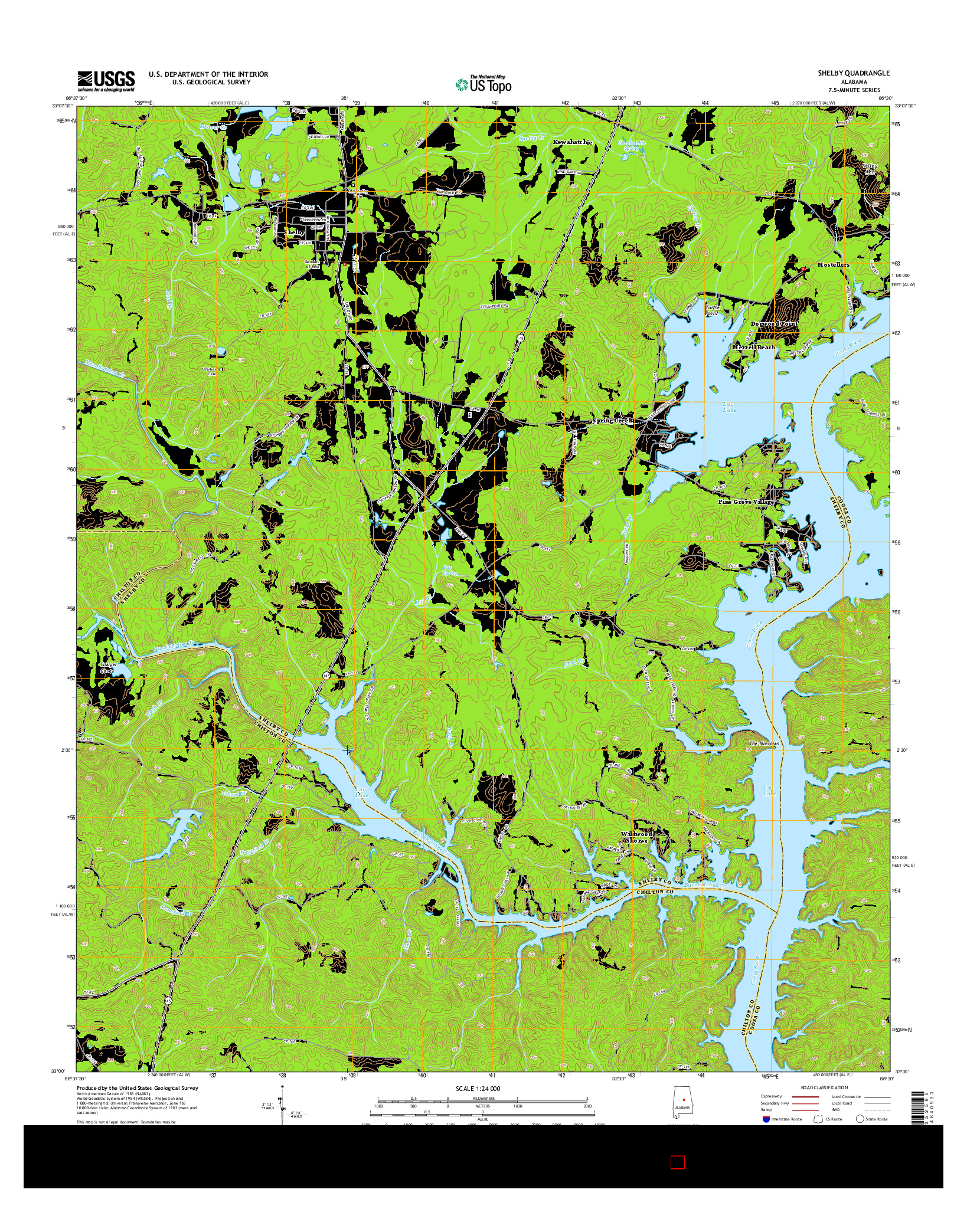 USGS US TOPO 7.5-MINUTE MAP FOR SHELBY, AL 2014