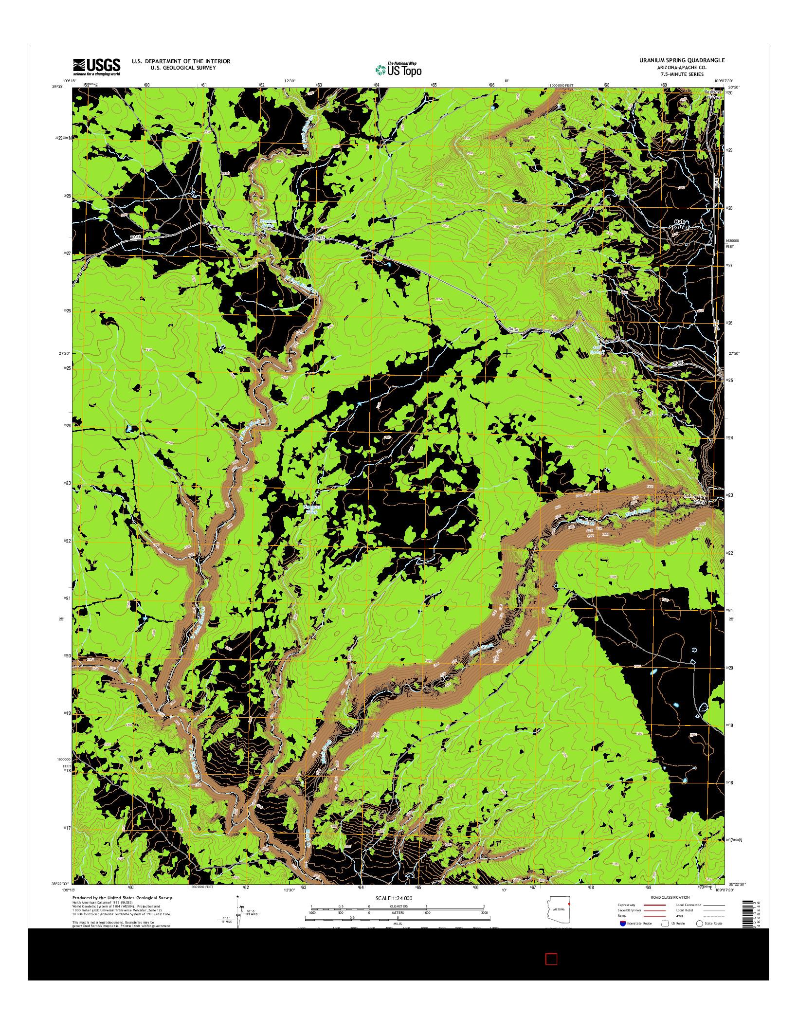 USGS US TOPO 7.5-MINUTE MAP FOR URANIUM SPRING, AZ 2014