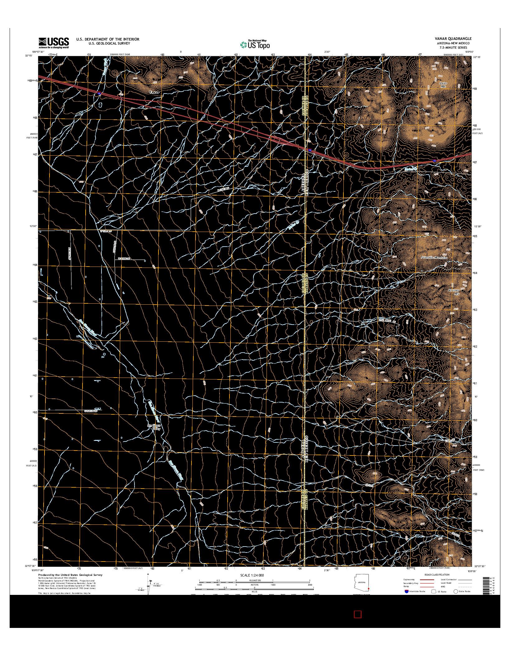 USGS US TOPO 7.5-MINUTE MAP FOR VANAR, AZ-NM 2014