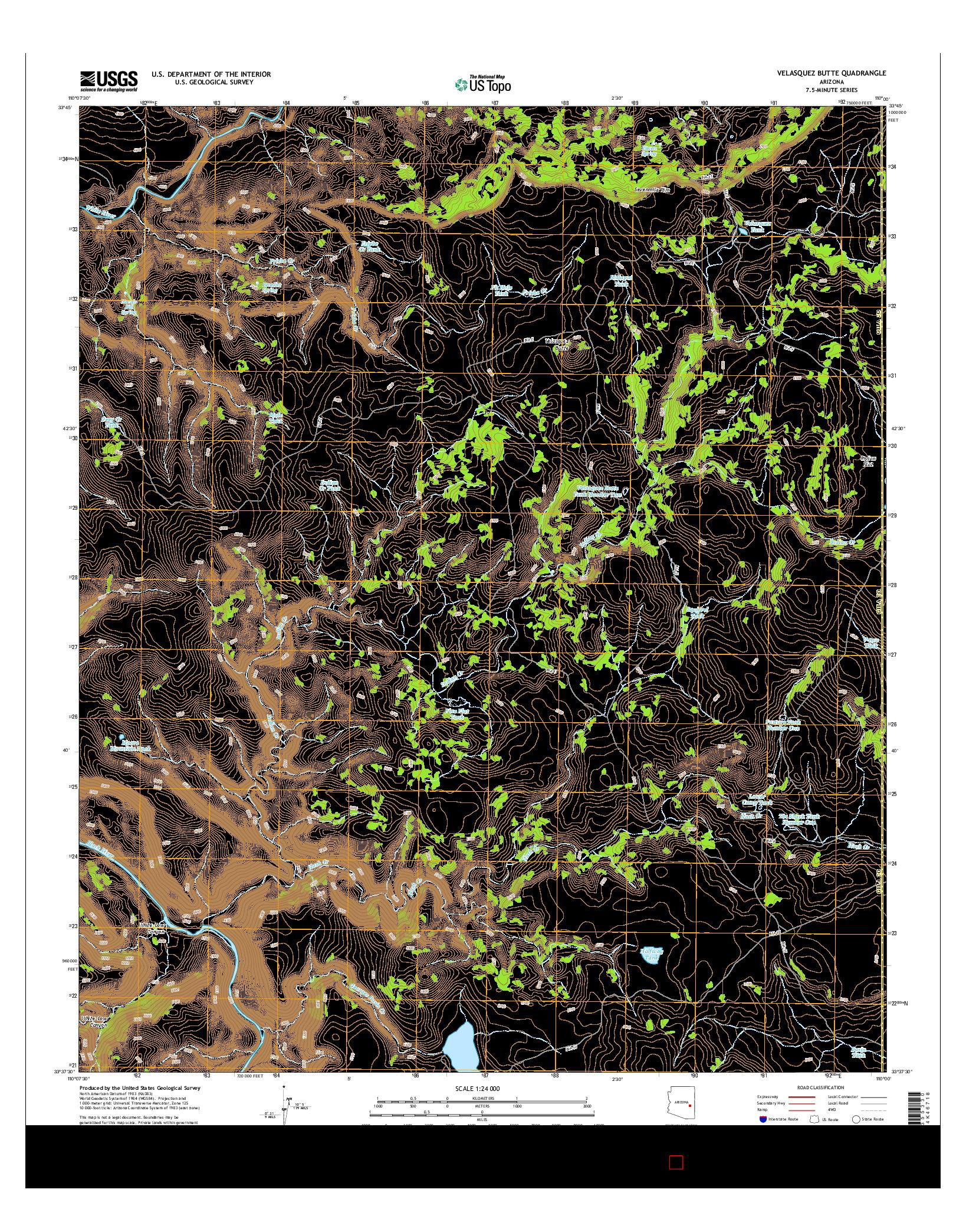 USGS US TOPO 7.5-MINUTE MAP FOR VELASQUEZ BUTTE, AZ 2014