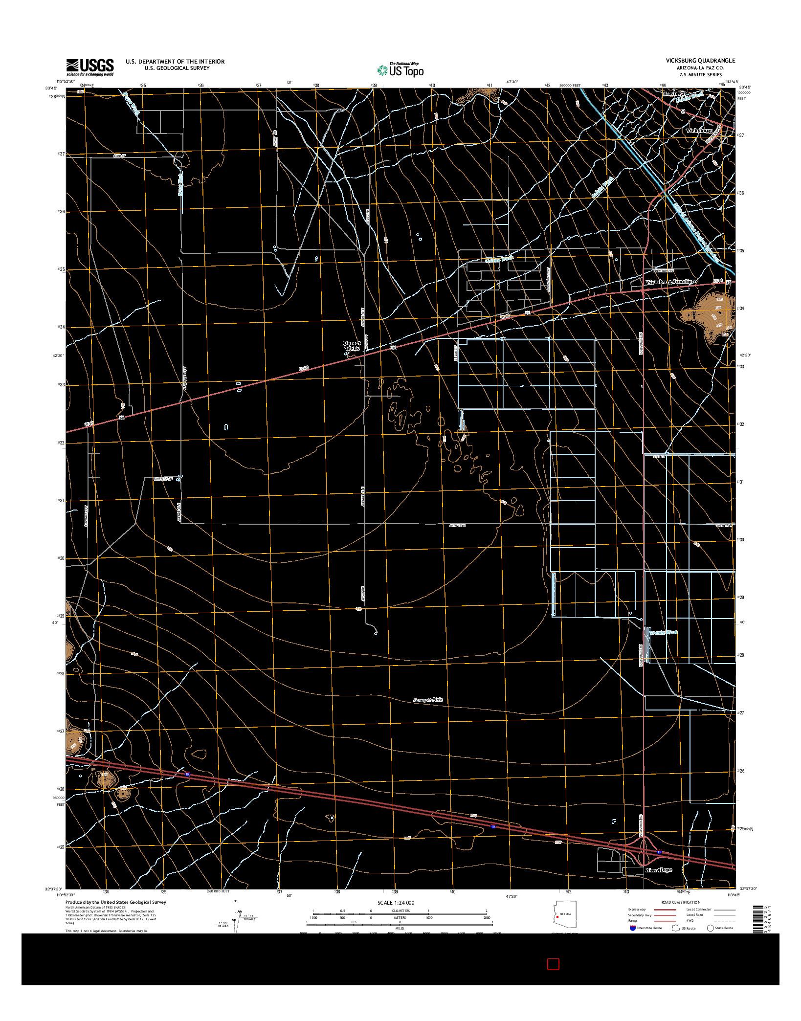 USGS US TOPO 7.5-MINUTE MAP FOR VICKSBURG, AZ 2014