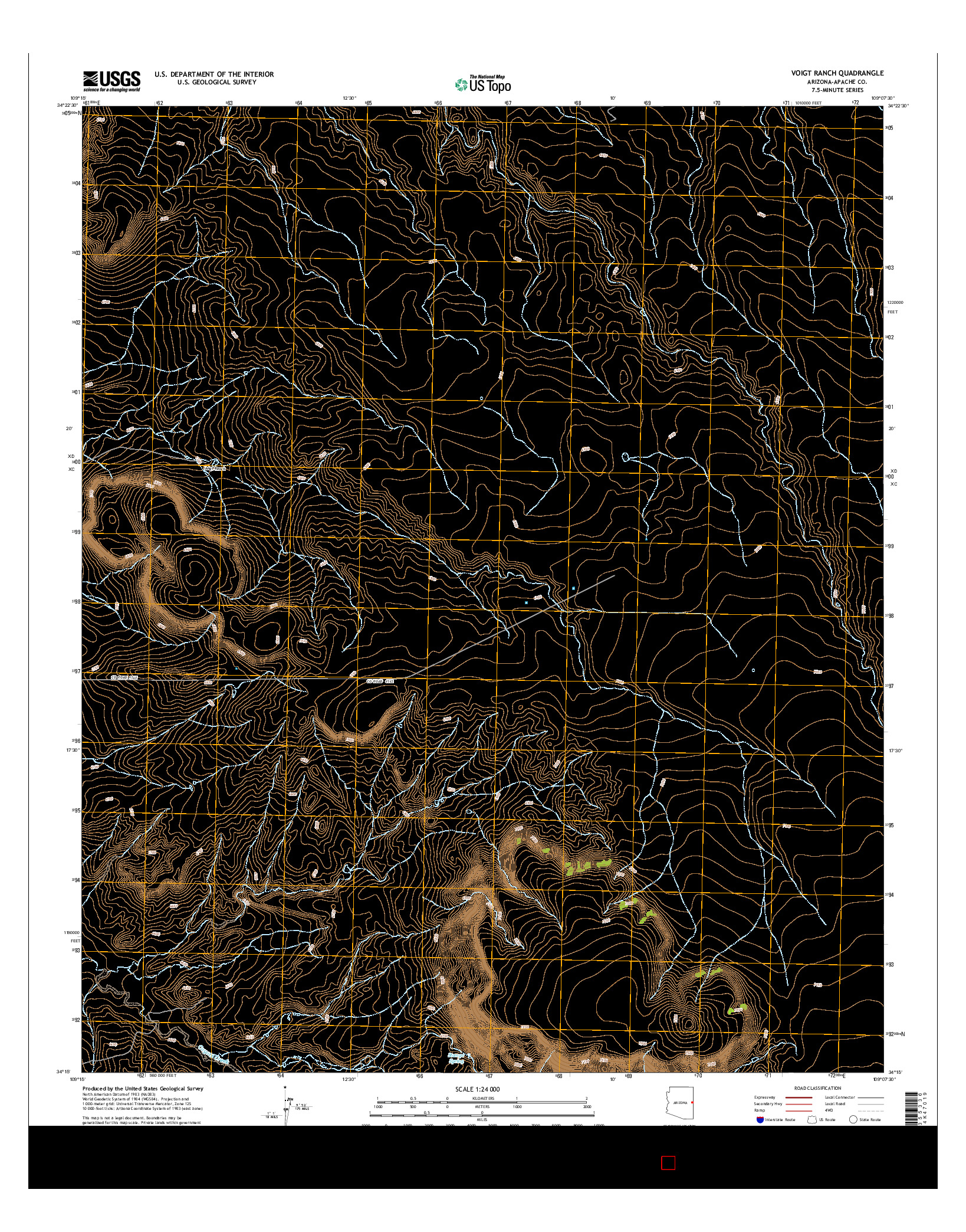 USGS US TOPO 7.5-MINUTE MAP FOR VOIGT RANCH, AZ 2014