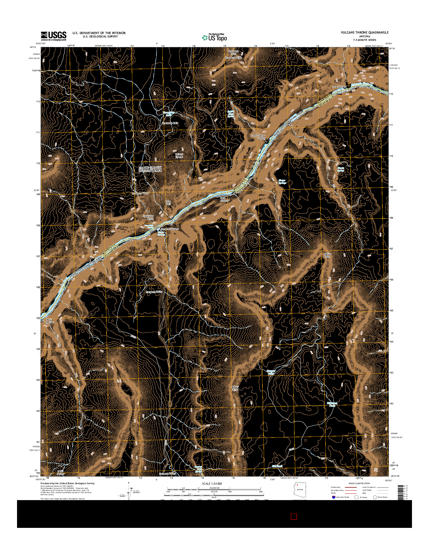 USGS US TOPO 7.5-MINUTE MAP FOR VULCANS THRONE, AZ 2014