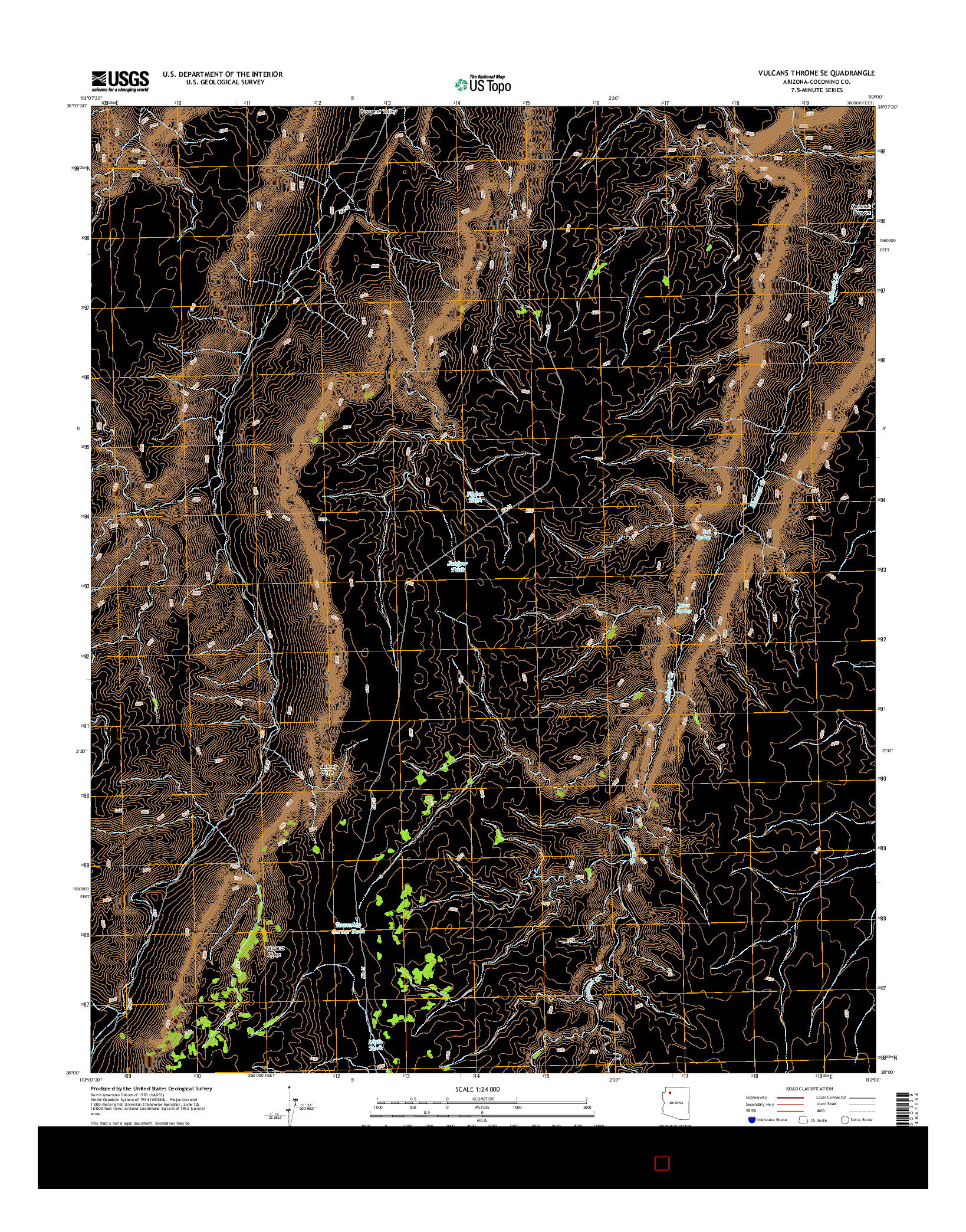 USGS US TOPO 7.5-MINUTE MAP FOR VULCANS THRONE SE, AZ 2014