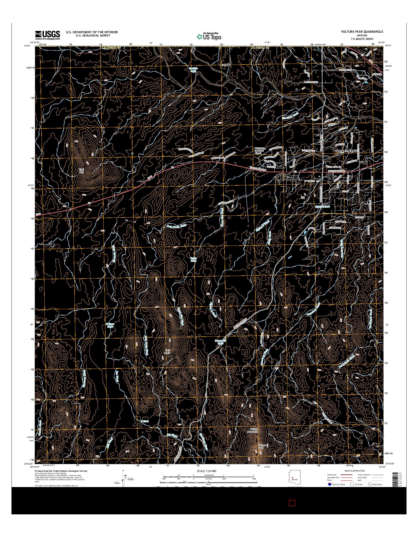 USGS US TOPO 7.5-MINUTE MAP FOR VULTURE PEAK, AZ 2014
