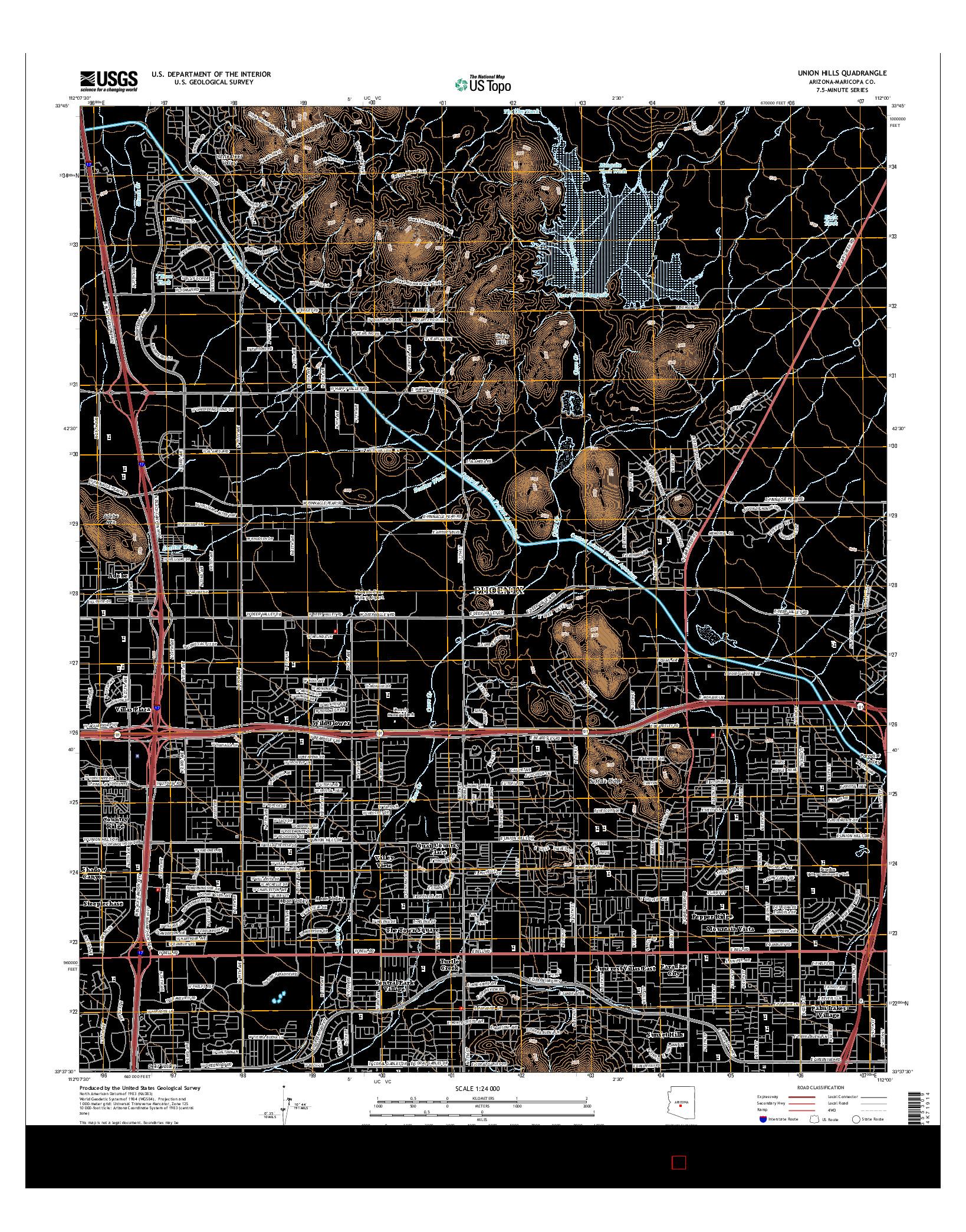 USGS US TOPO 7.5-MINUTE MAP FOR UNION HILLS, AZ 2014