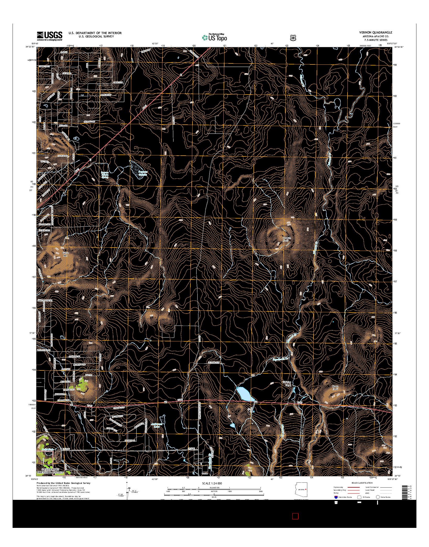 USGS US TOPO 7.5-MINUTE MAP FOR VERNON, AZ 2014