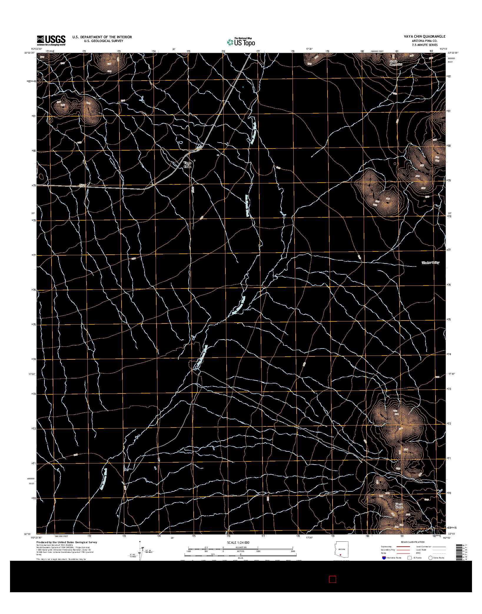 USGS US TOPO 7.5-MINUTE MAP FOR VAYA CHIN, AZ 2014