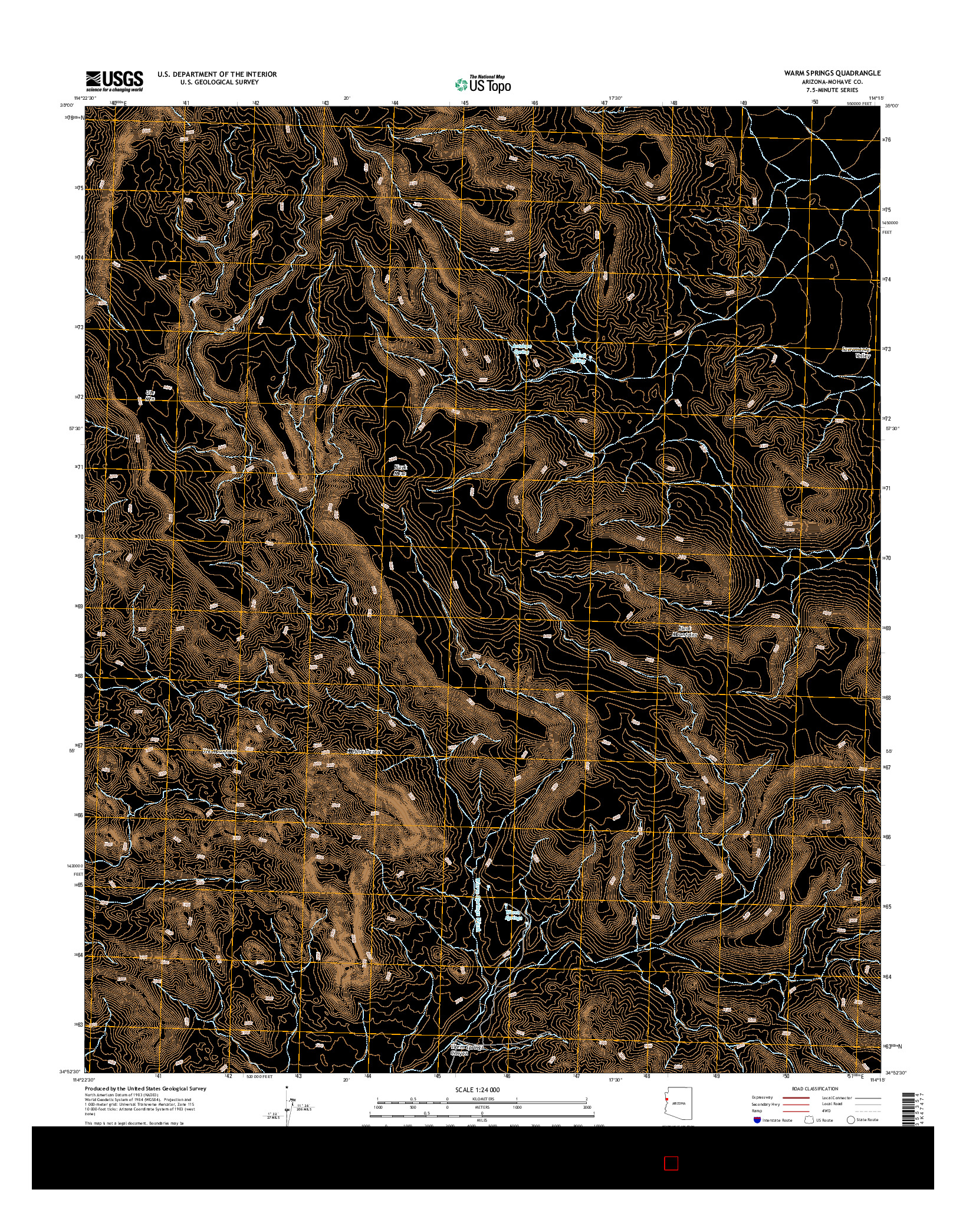 USGS US TOPO 7.5-MINUTE MAP FOR WARM SPRINGS, AZ 2014