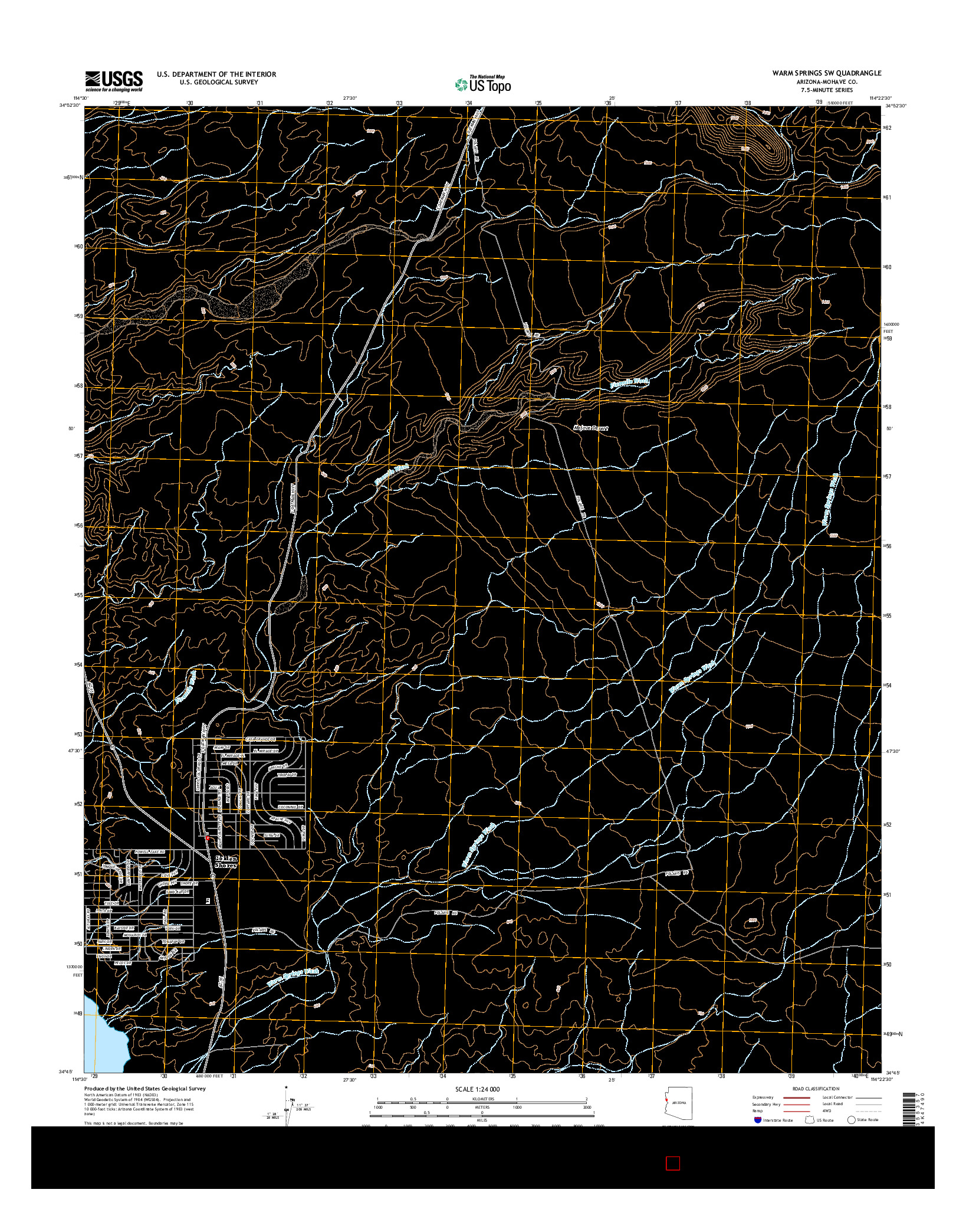 USGS US TOPO 7.5-MINUTE MAP FOR WARM SPRINGS SW, AZ 2014