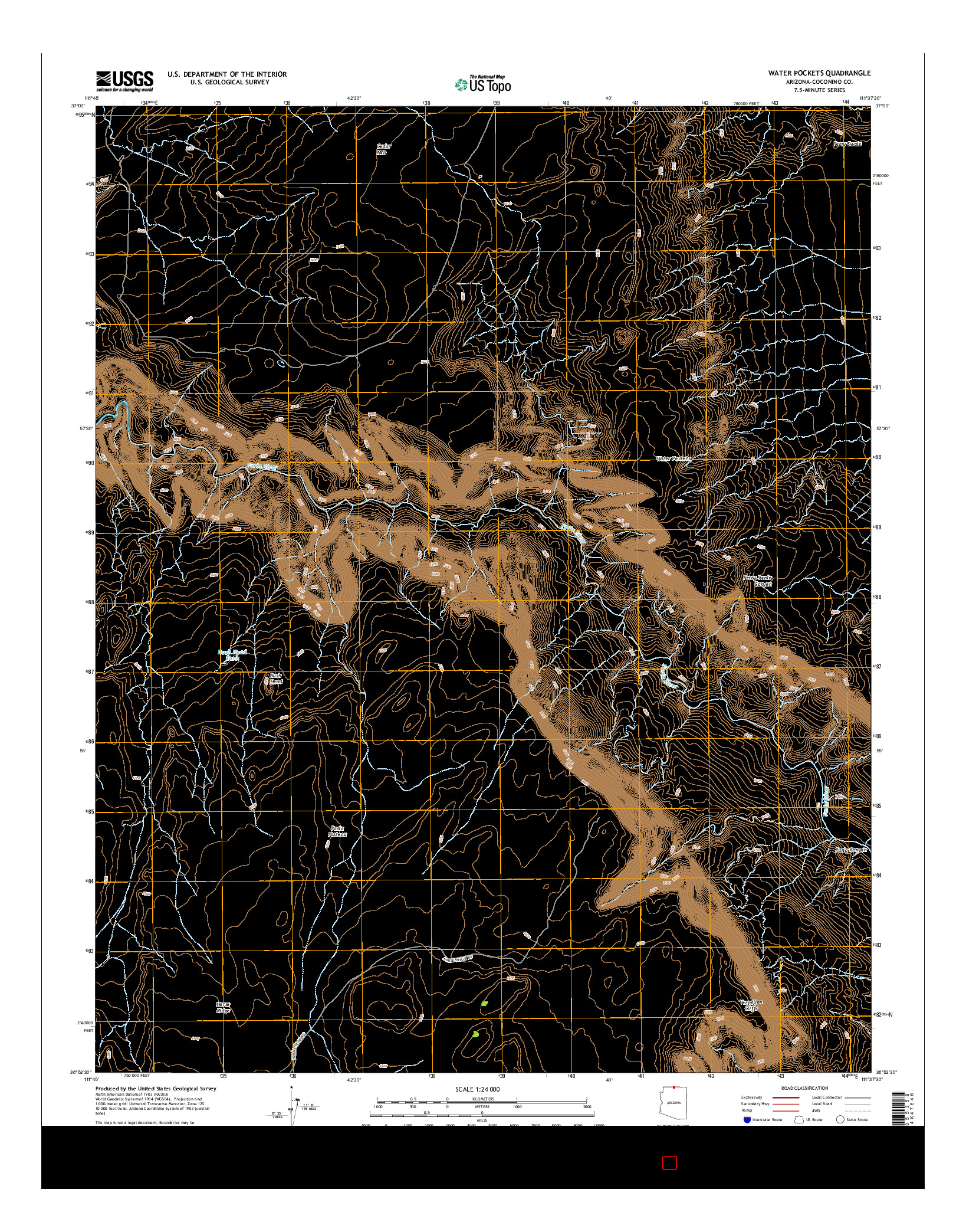 USGS US TOPO 7.5-MINUTE MAP FOR WATER POCKETS, AZ 2014