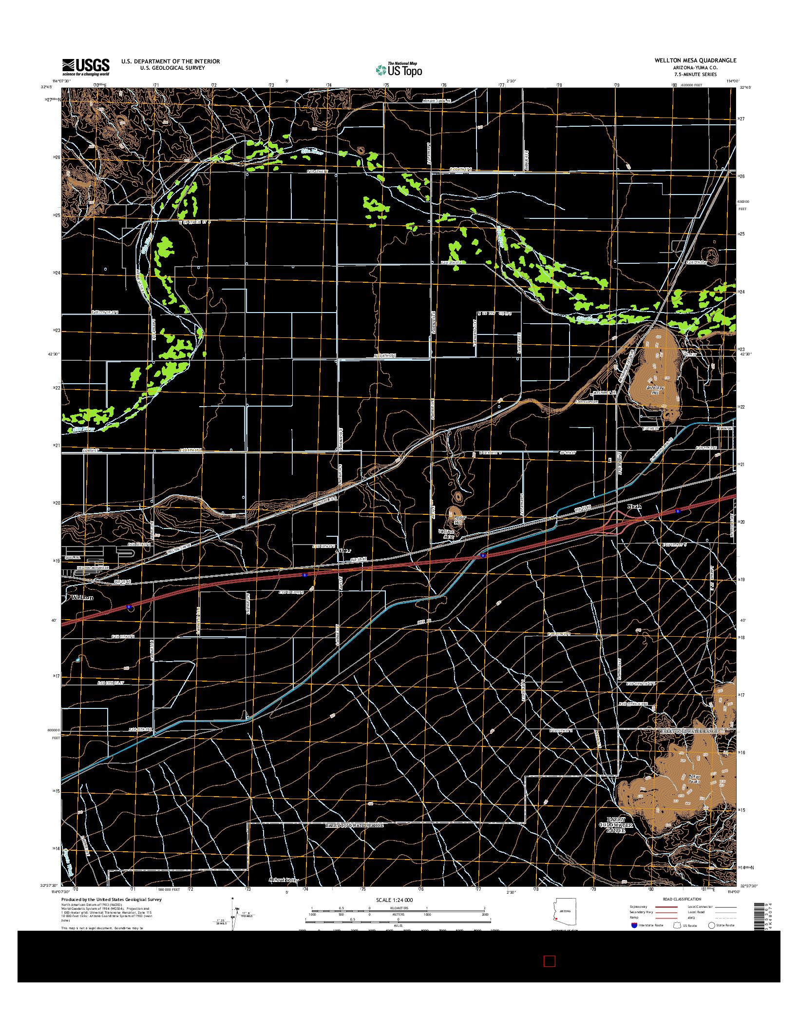 USGS US TOPO 7.5-MINUTE MAP FOR WELLTON MESA, AZ 2014