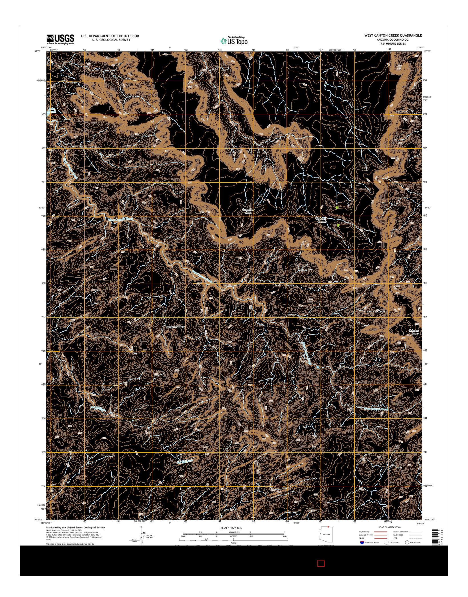 USGS US TOPO 7.5-MINUTE MAP FOR WEST CANYON CREEK, AZ 2014