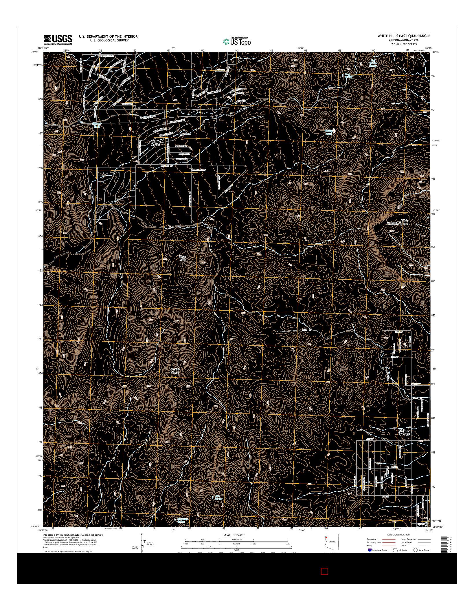 USGS US TOPO 7.5-MINUTE MAP FOR WHITE HILLS EAST, AZ 2014