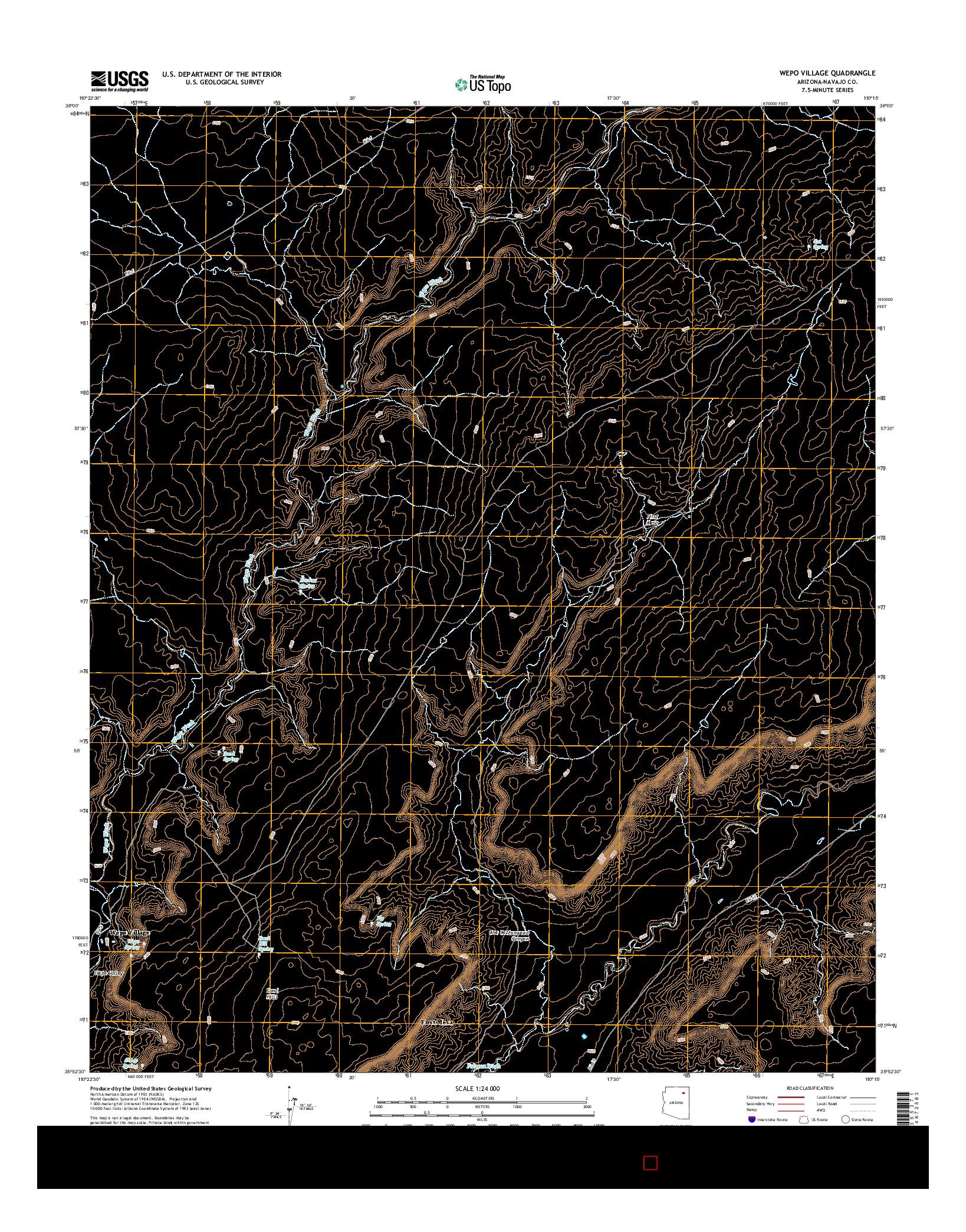 USGS US TOPO 7.5-MINUTE MAP FOR WEPO VILLAGE, AZ 2014