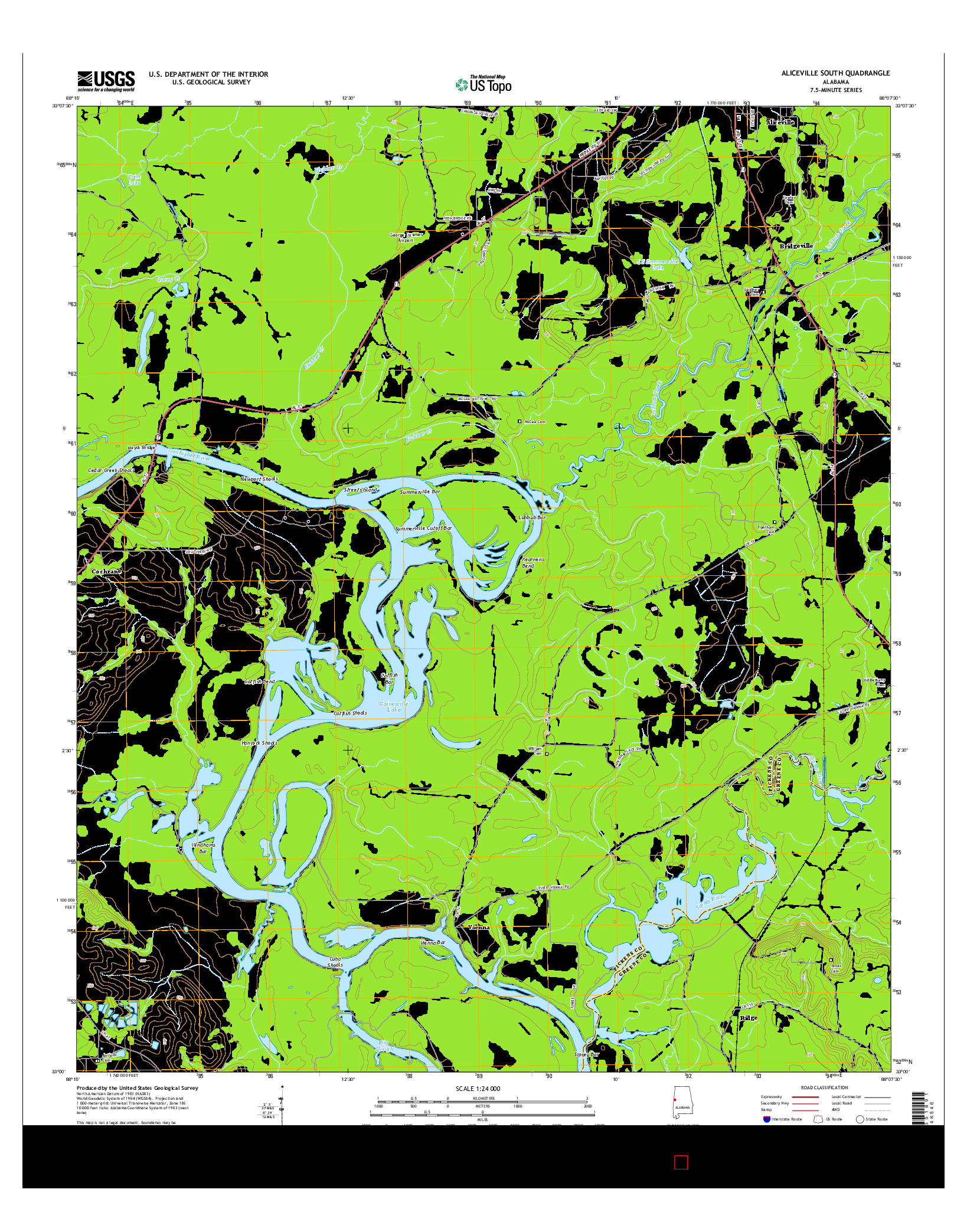 USGS US TOPO 7.5-MINUTE MAP FOR ALICEVILLE SOUTH, AL 2014