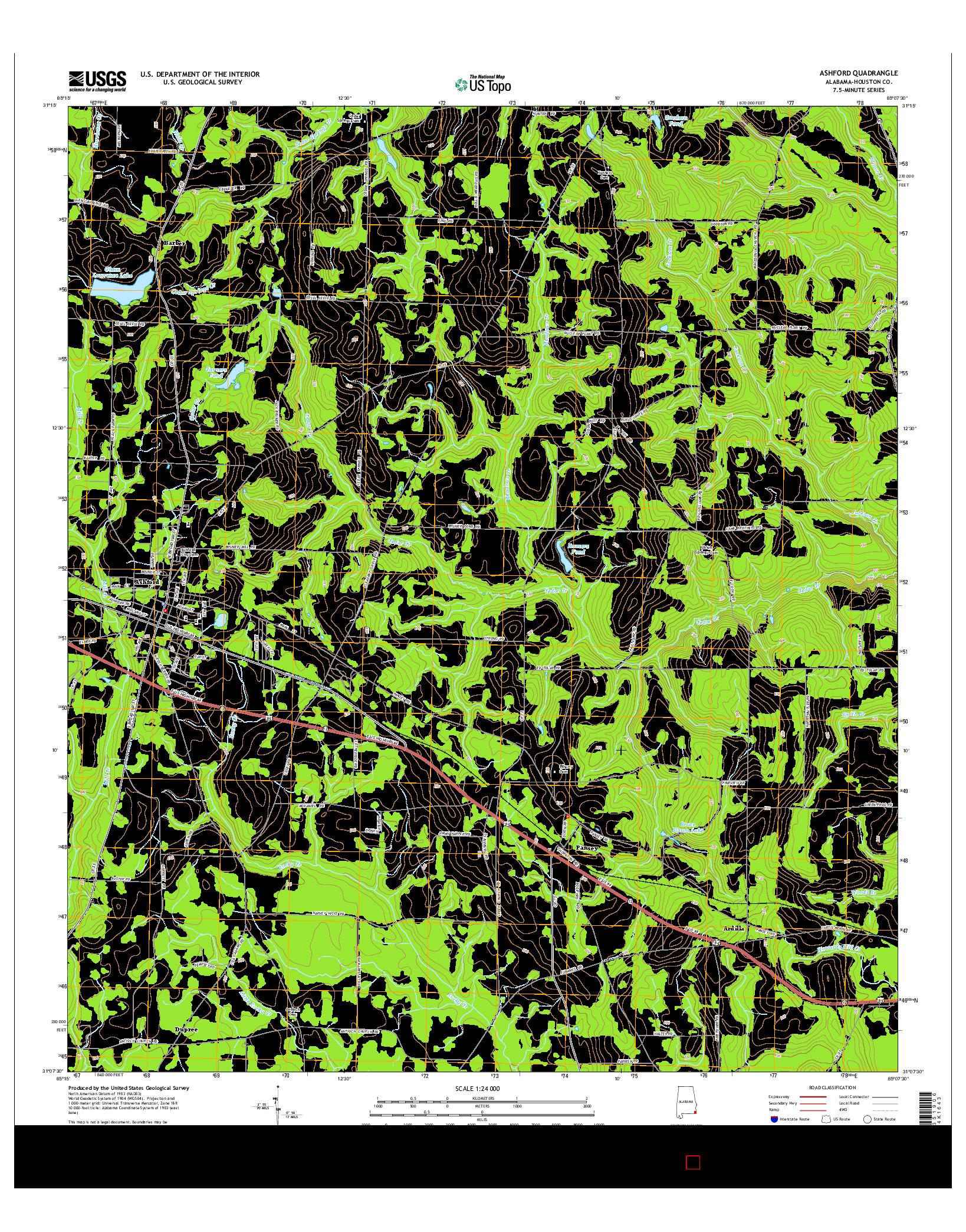 USGS US TOPO 7.5-MINUTE MAP FOR ASHFORD, AL 2014